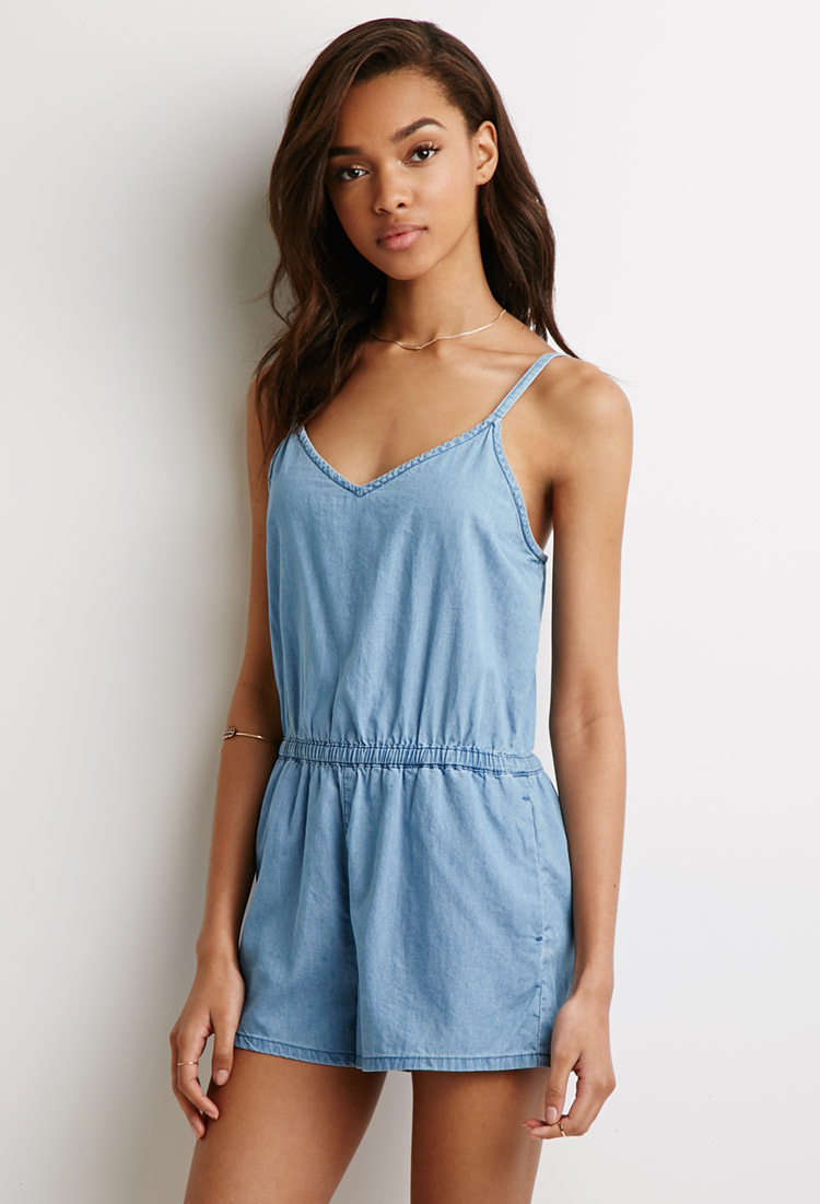 b2670f696f2 Forever 21 Chambray Cami Romper in Blue - Lyst