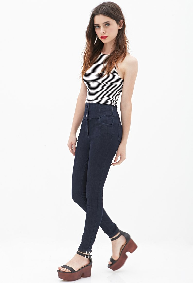 Gallery. Women's High Waisted Jeans - Forever 21 High-Waisted Skinny Jeans In Blue Lyst