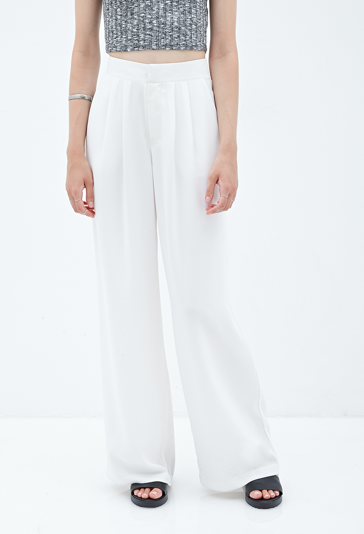 Forever 21 Pleated Wide-Leg Pants in White | Lyst