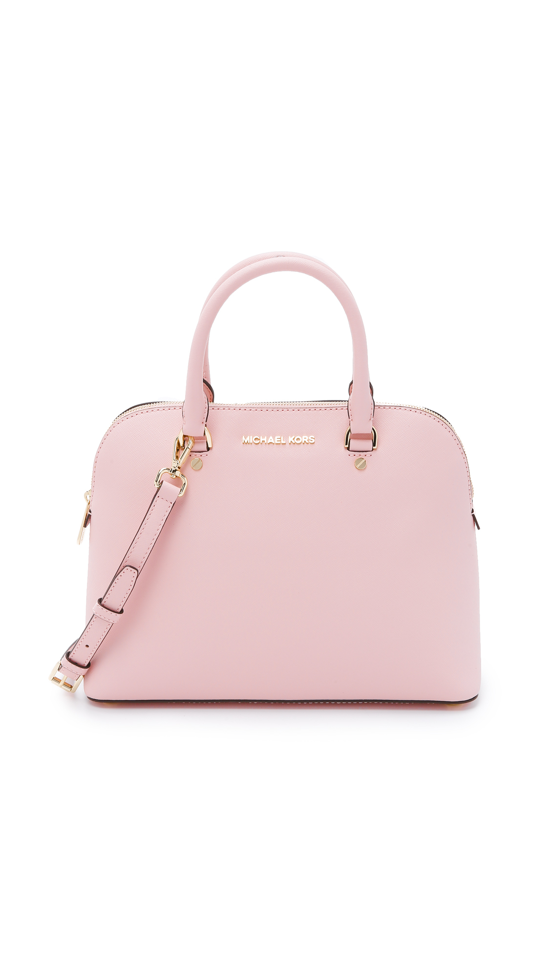 6303e0b0d6c4 ... discount michael michael kors cindy satchel blossom in pink lyst d54ba  8acdd