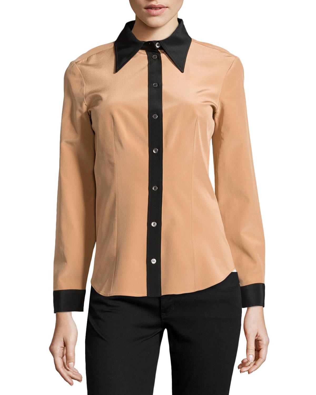 michael kors colorblock crepe de chine blouse in natural lyst. Black Bedroom Furniture Sets. Home Design Ideas