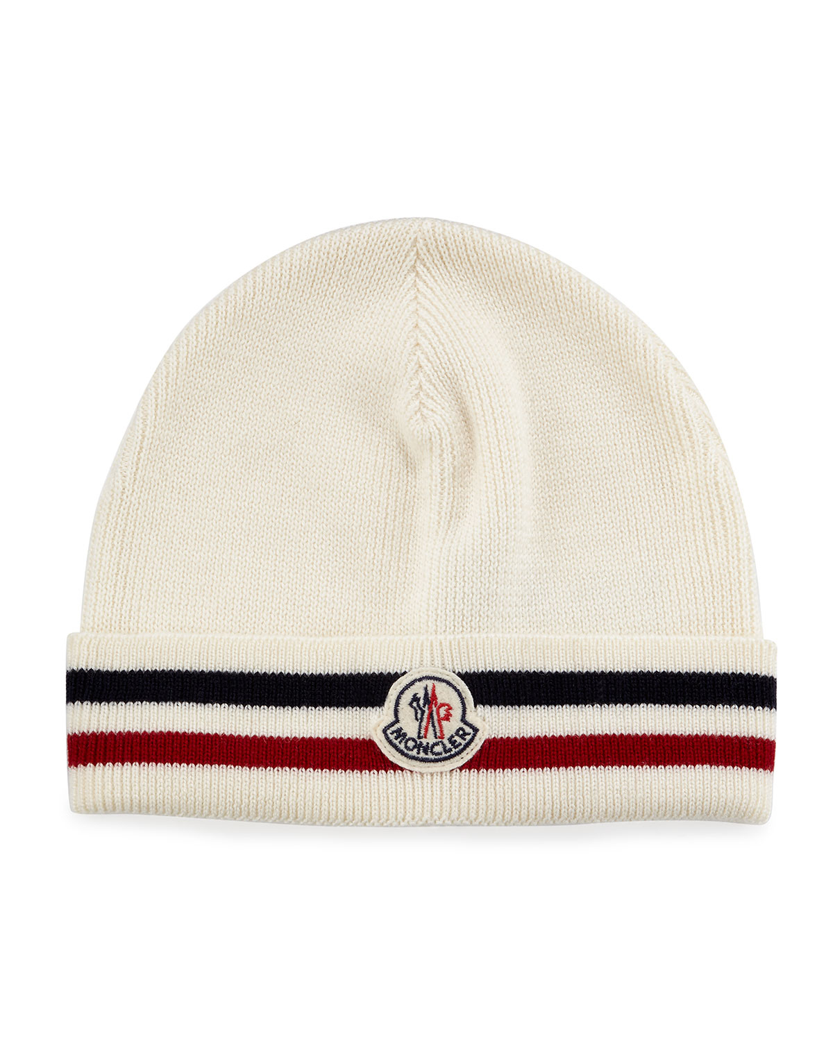 10775a6bc12 Lyst - Moncler Striped Logo Cashmere Beanie Hat in White for Men