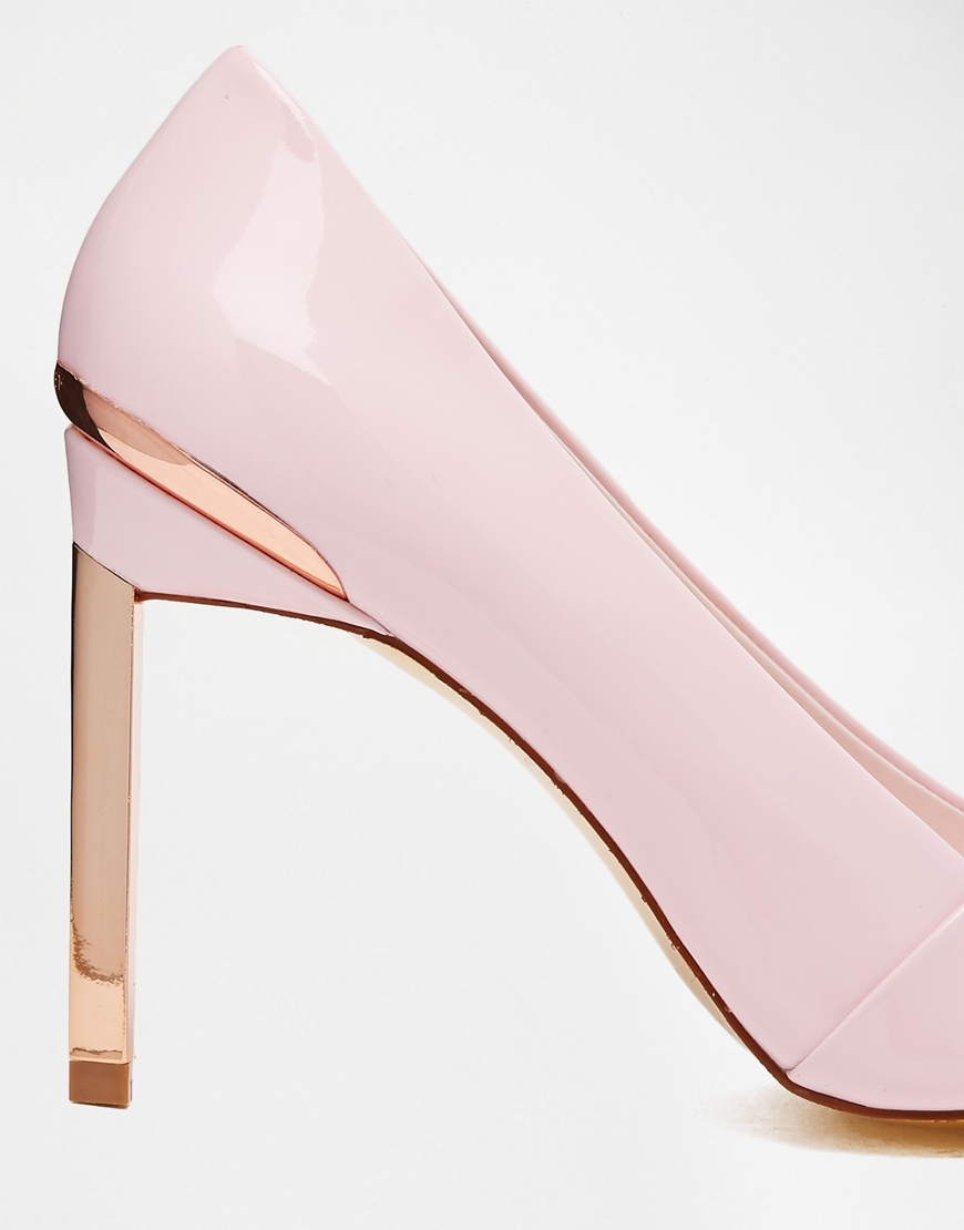 3a1d1dd3916 Lyst - Ted Baker Naretta Light Pink Patent Heeled Shoes in Metallic