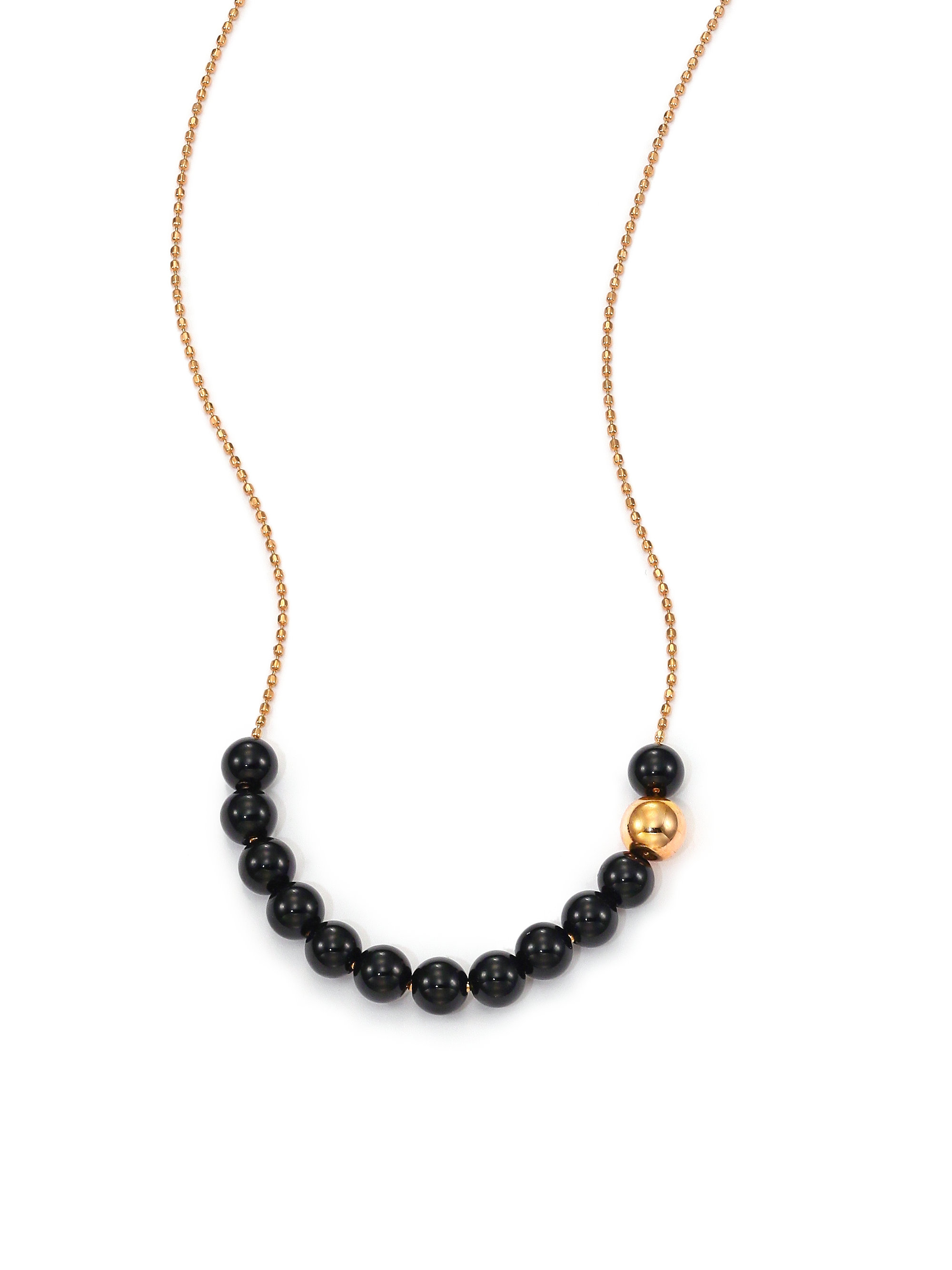 Lyst ginette ny black moon black onyx 18k rose gold beaded gallery aloadofball Images