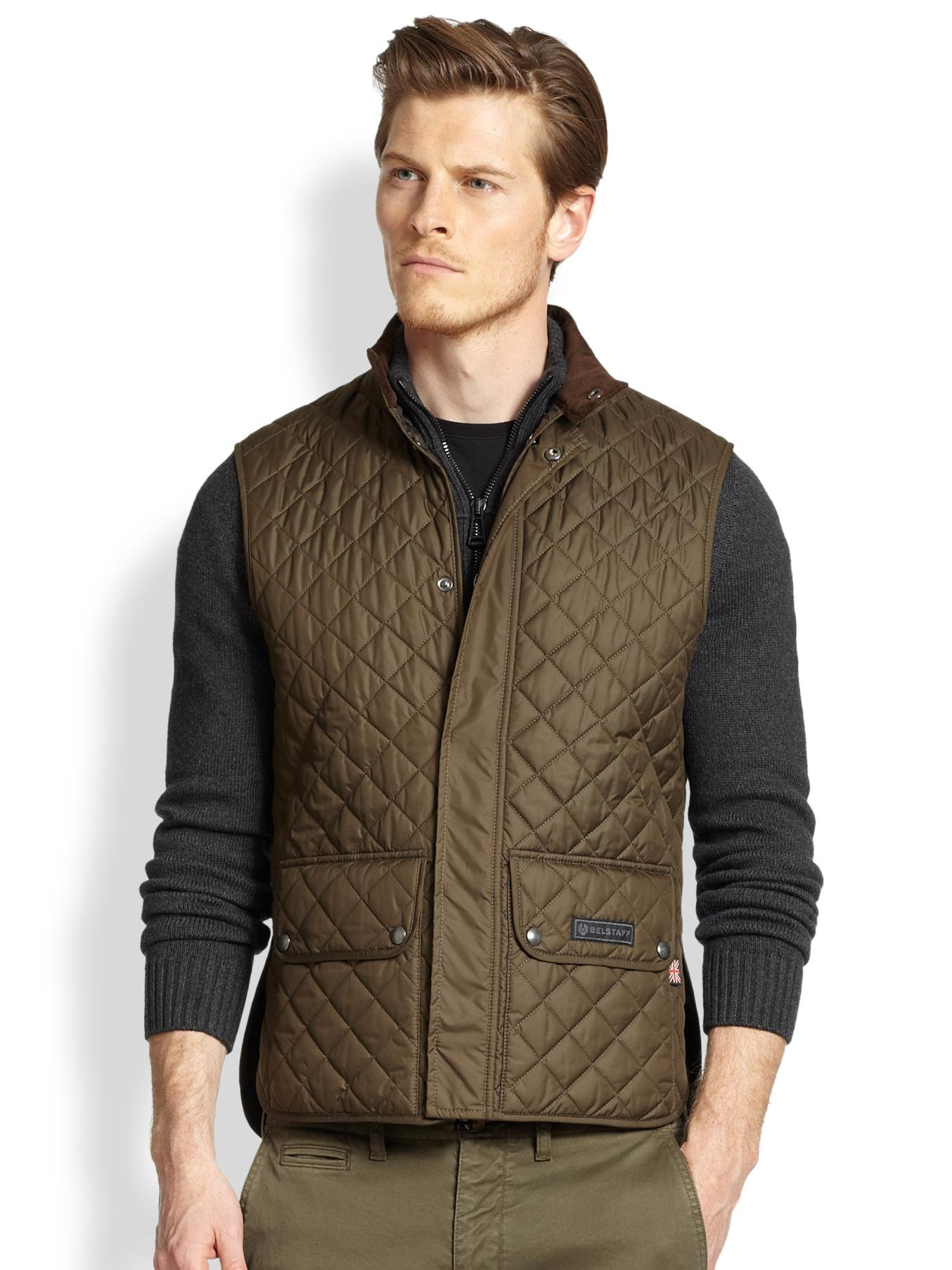 Belstaff Lightweight Technical Quilted Vest in Green for Men | Lyst