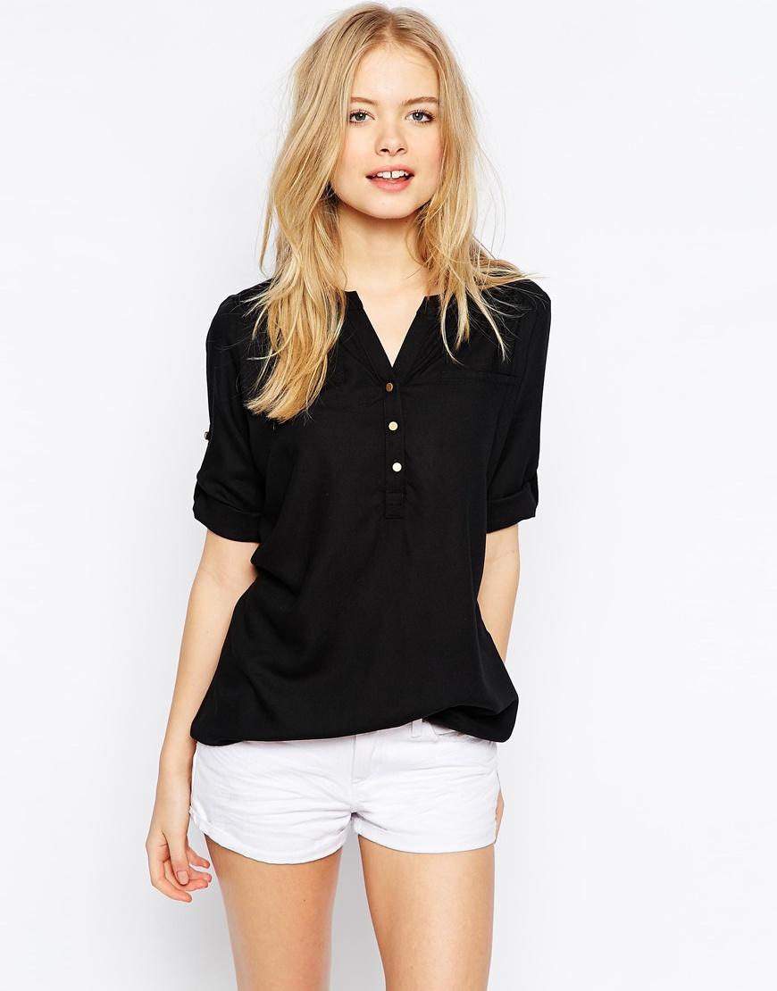 ce22dc04a2412 Vero Moda Utility Button Shirt in Black - Lyst
