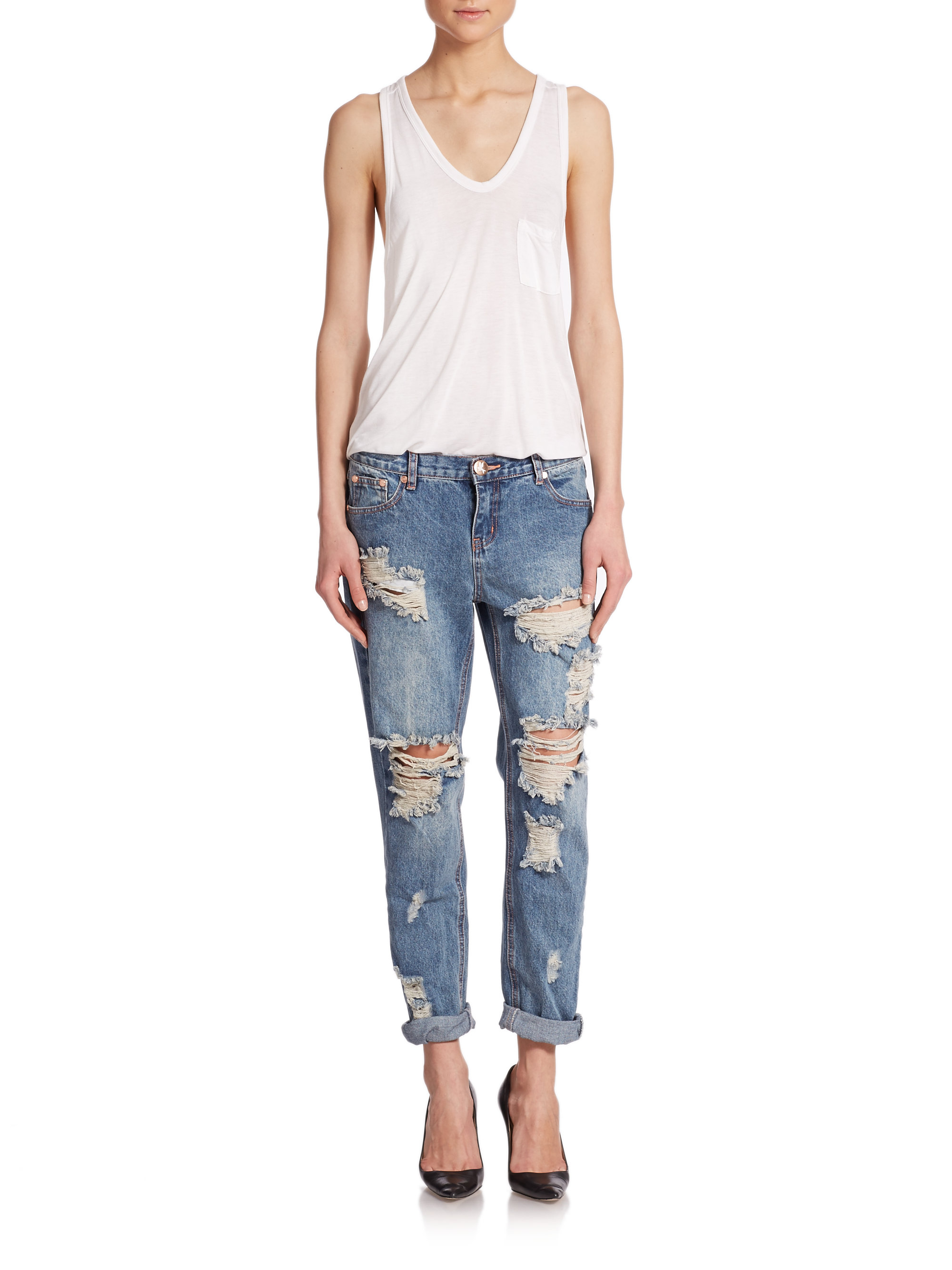 one teaspoon awesome baggies distressed boyfriend jeans in blue lyst. Black Bedroom Furniture Sets. Home Design Ideas