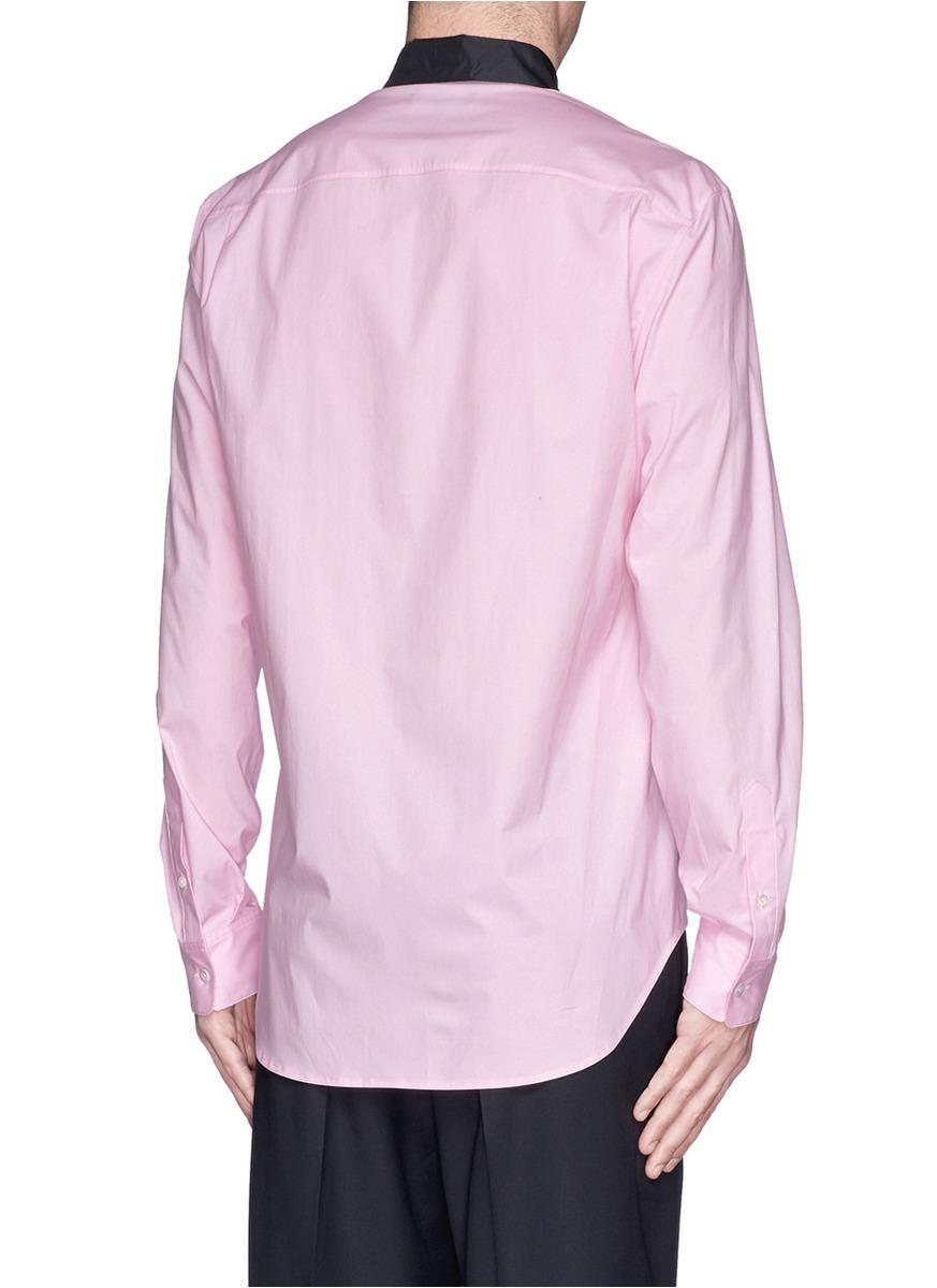 Lyst 31 Phillip Lim Contrast Starch Collar Poplin Shirt In Pink