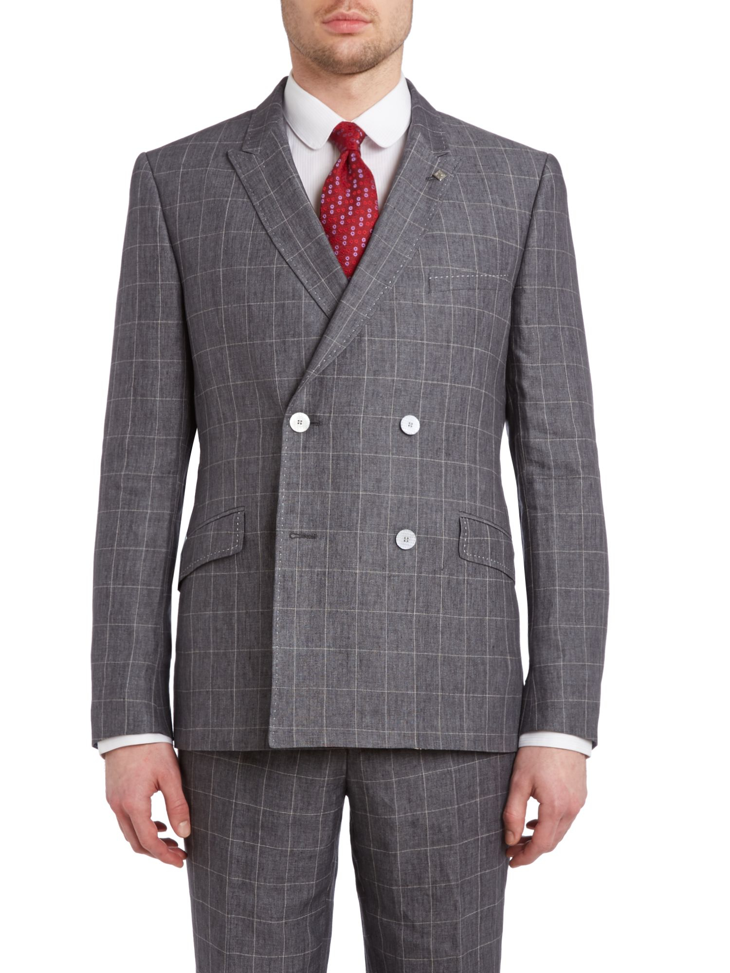 Ted baker Piejak Slim Fit Double Breasted Check Suit Jacket in