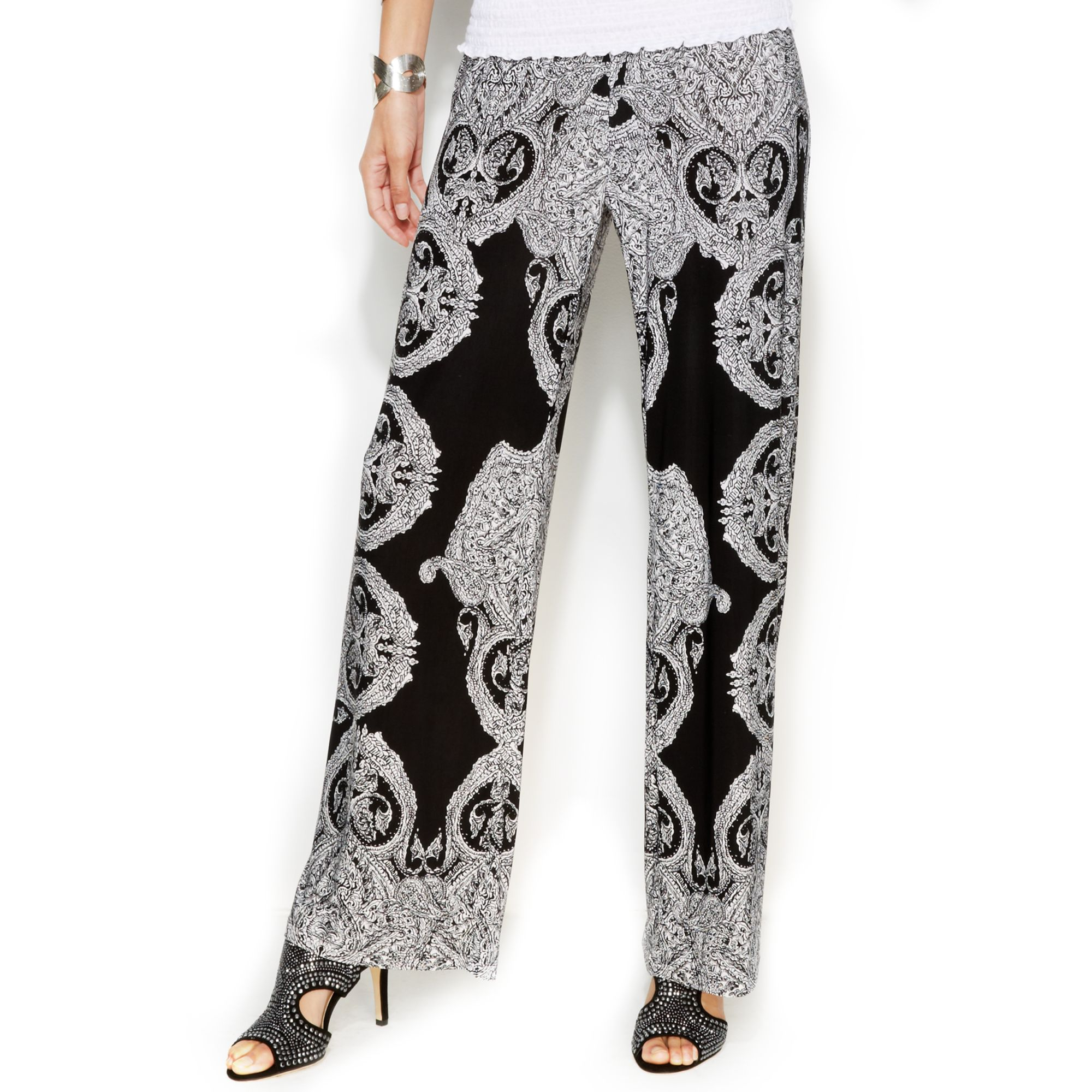 Inc international concepts Petite Printed Wideleg Soft Pants | Lyst