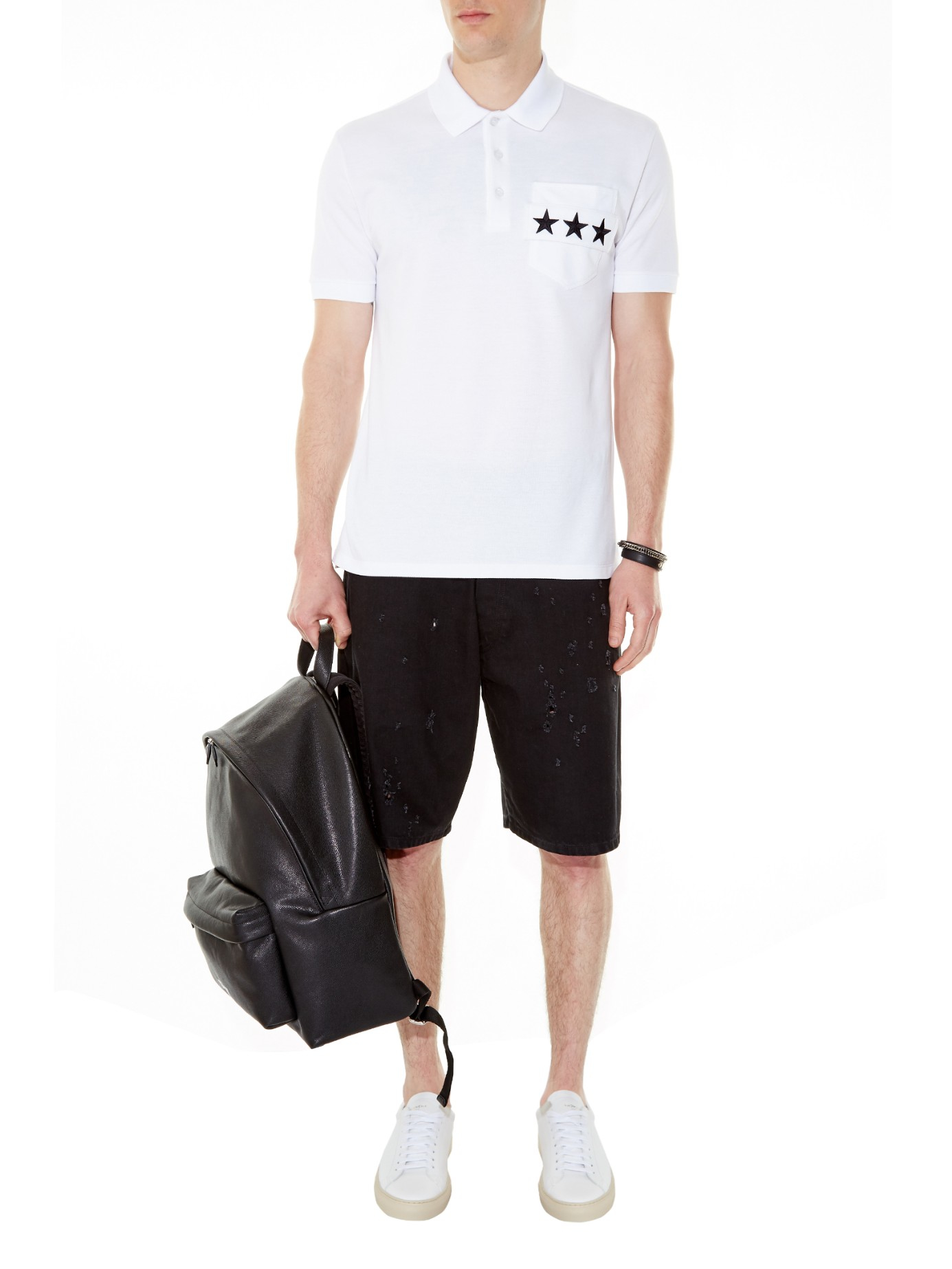 05906797a Givenchy Cuban-fit Star-strap Polo Shirt in White for Men - Lyst