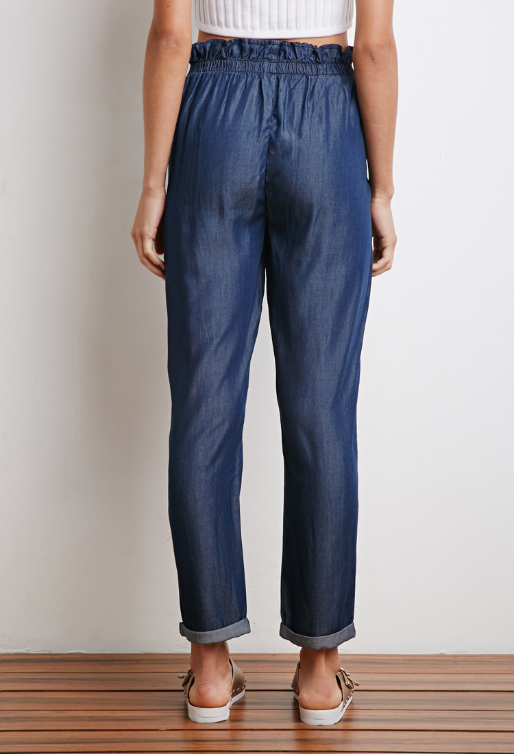 Lyst forever 21 chambray paper bag waist pants in blue for Chambray jeans