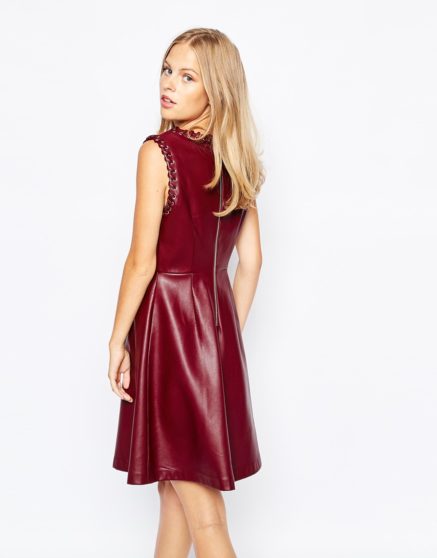 61d66bccc9e1 Lyst - Lost Ink Pu Fit And Flare Dress With Lace Up Trim in Purple
