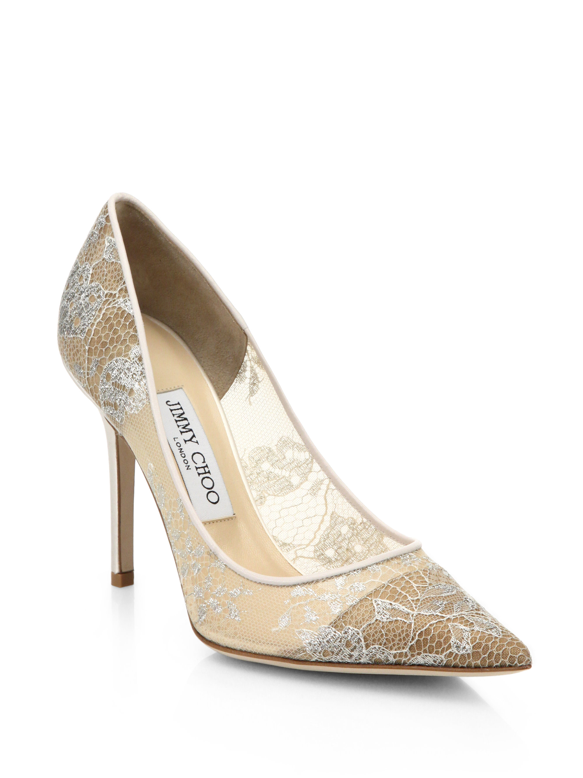 Lyst Jimmy Choo Abel 90 Lace Point Toe Pumps In White