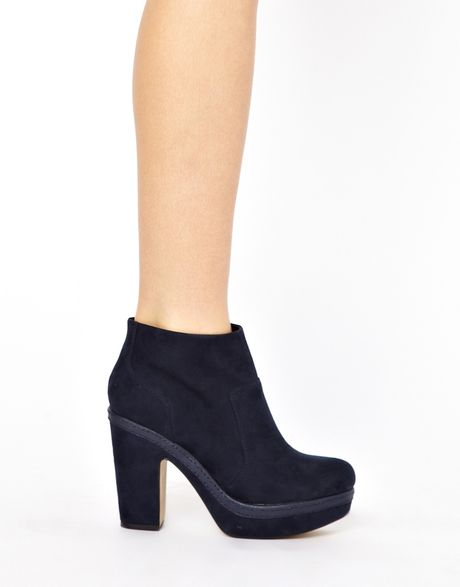 river island navy nara platform ankle boots in blue navy