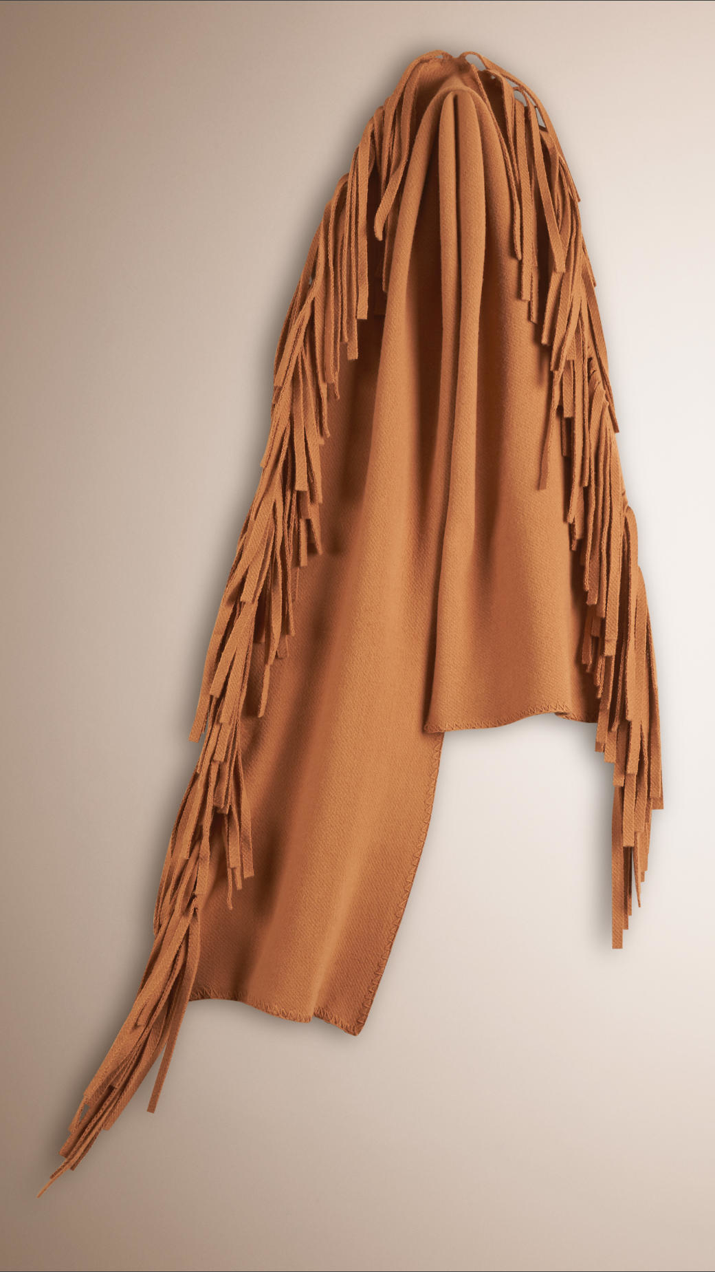 burberry fringed felted wool scarf in lyst