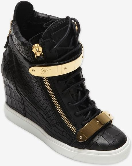 Metal Plate Wedge : Giuseppe zanotti metal plate wedge sneaker in black lyst