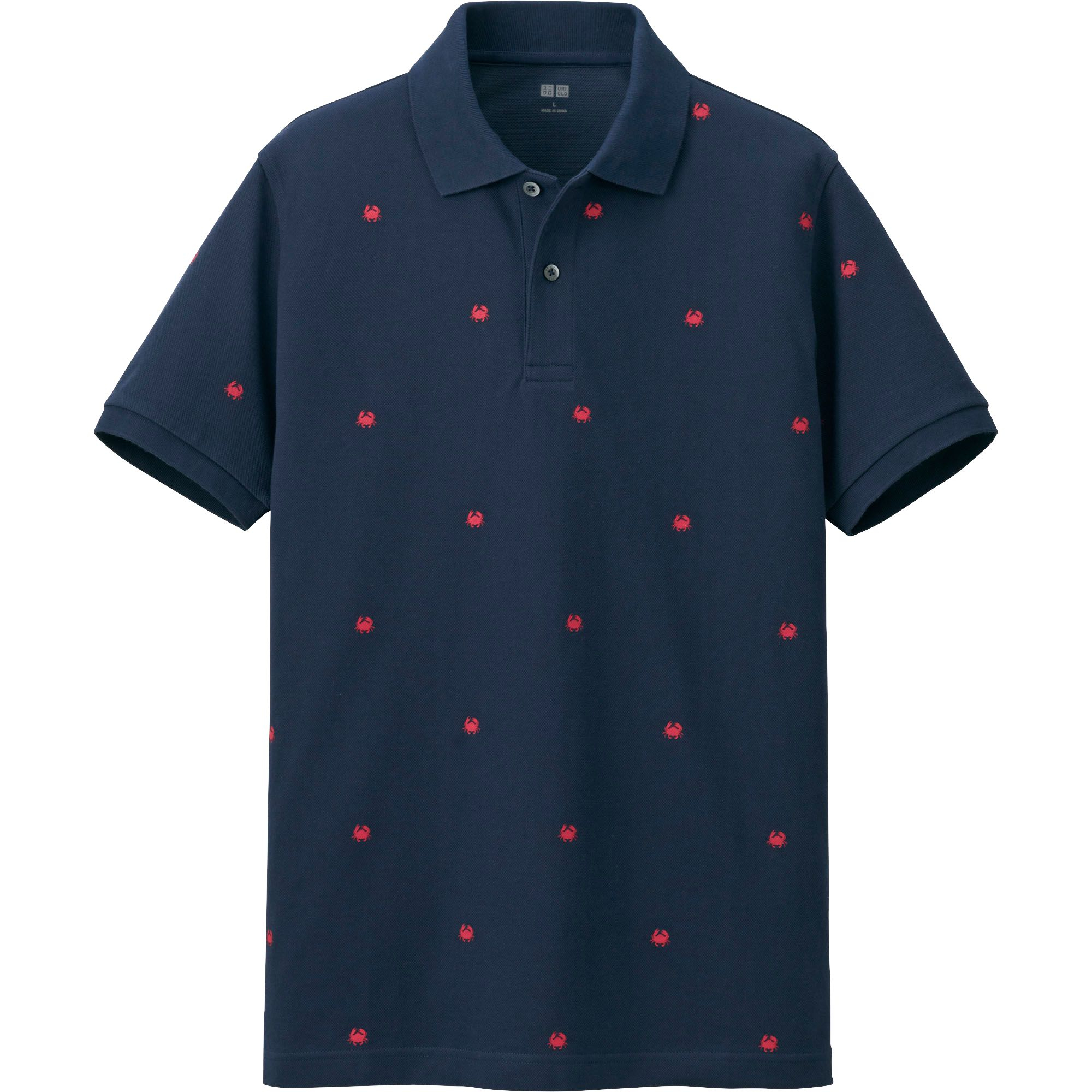 Uniqlo dry pique printed short sleeve polo shirt in blue for Printed short sleeve shirts