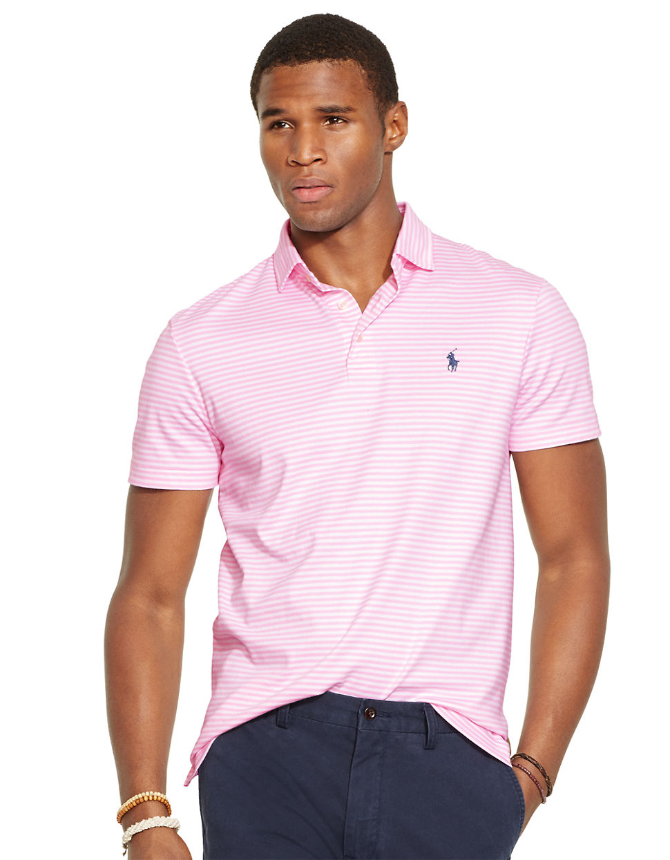 c3527549a3 ... get lyst polo ralph lauren striped pima soft touch shirt in pink for  men 8cb50 94fd2