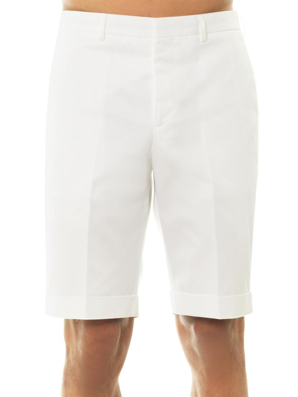 Mens White Cotton Shorts