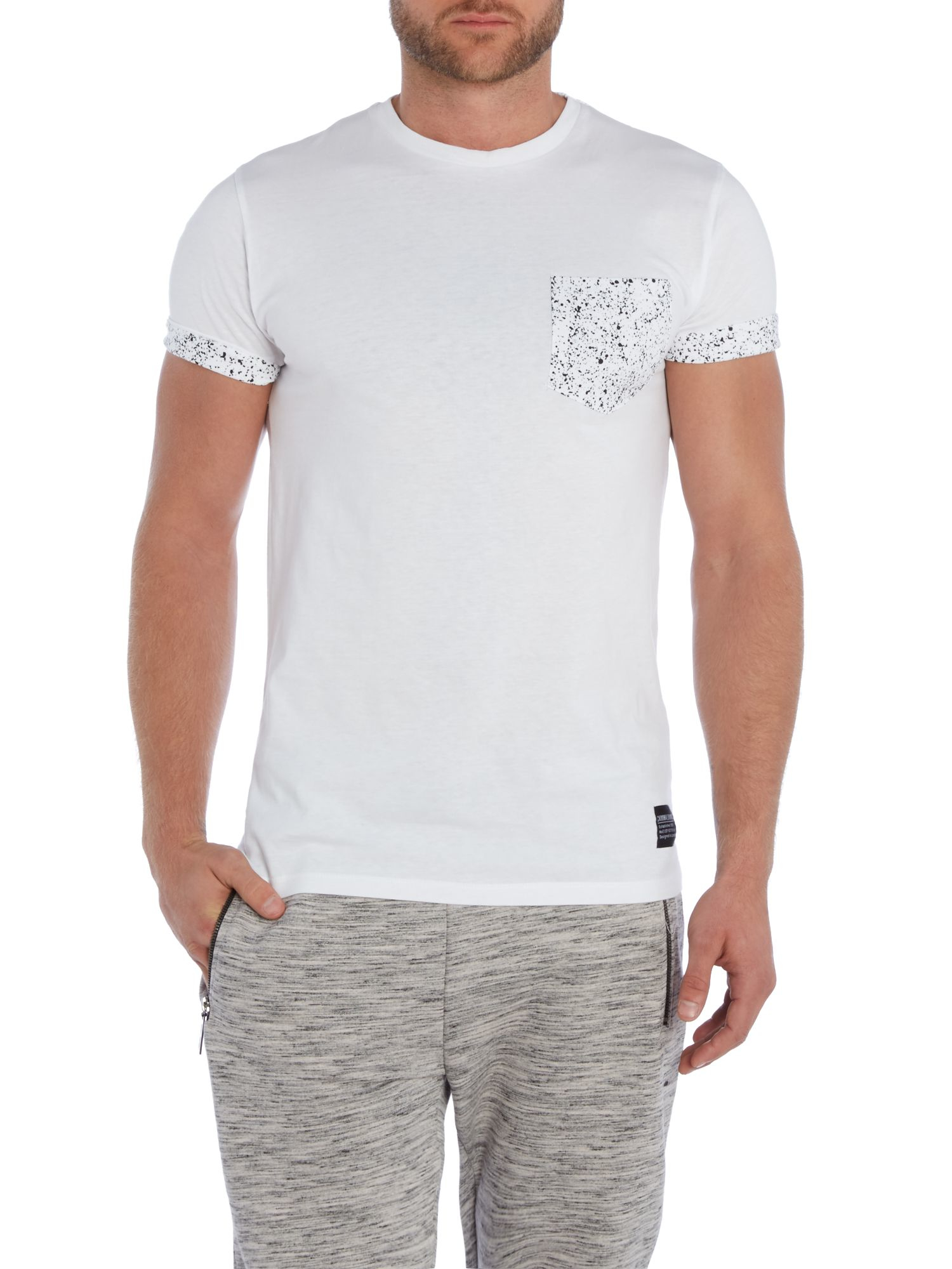 criminal damage splatter contrast pocket t shirt in white for men lyst. Black Bedroom Furniture Sets. Home Design Ideas