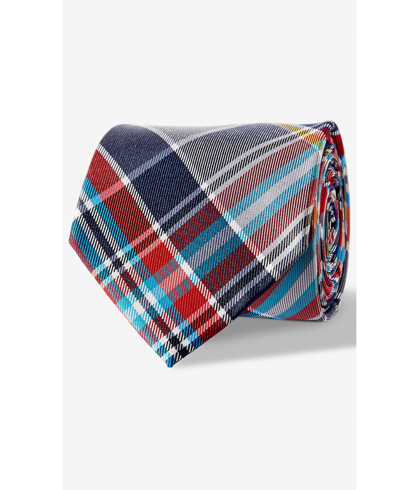 express plaid narrow silk tie turquoise in blue for