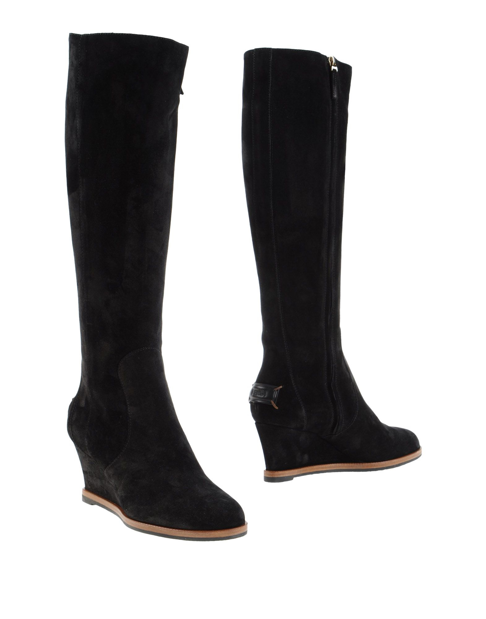 fendi suede knee high wedge boots in black lyst