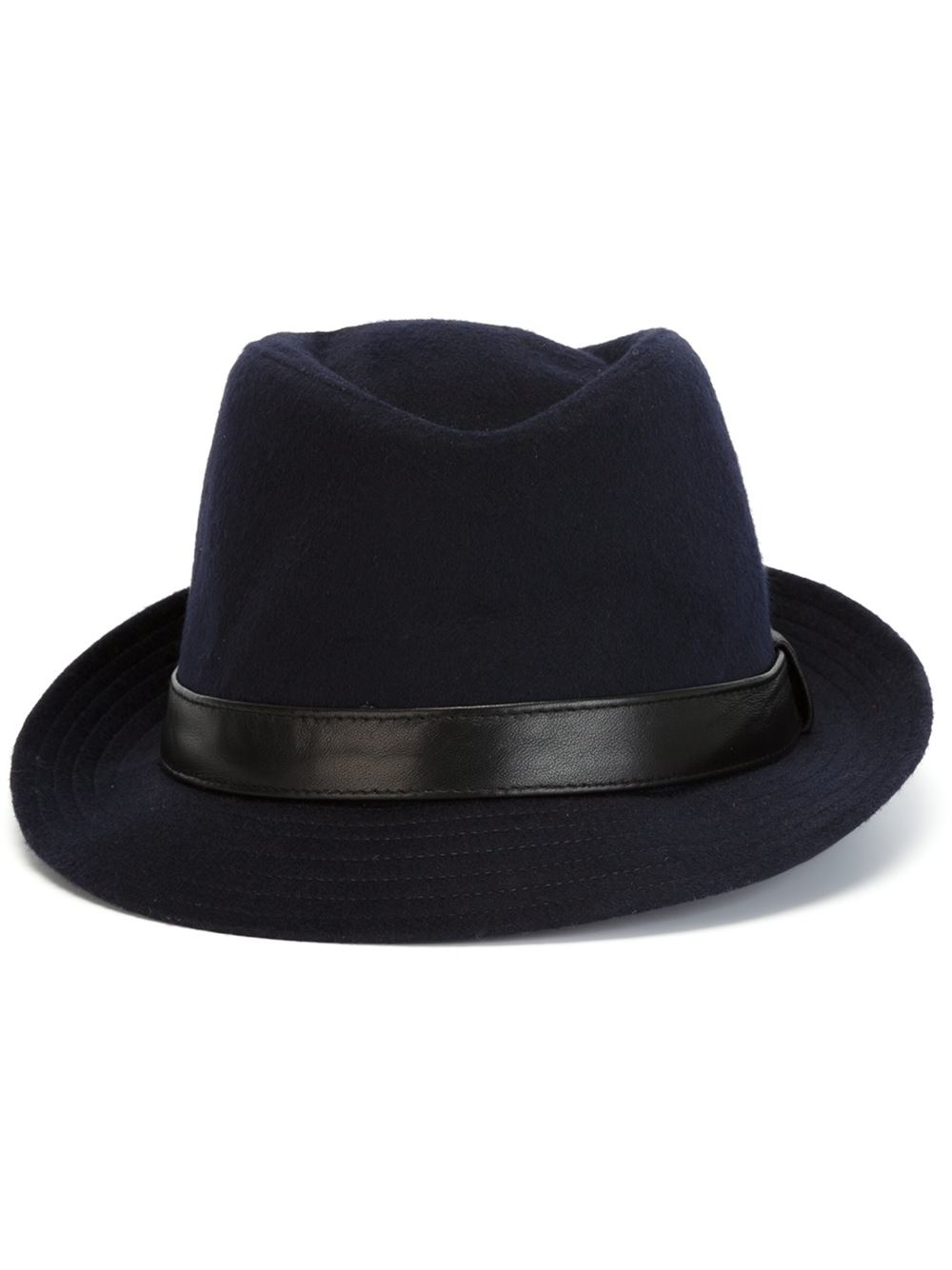76007210c2f Kiton Leather Band Fedora Hat in Blue for Men - Lyst