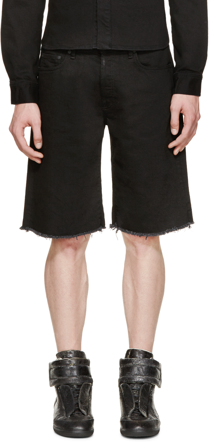 Off-white c/o virgil abloh Black Frayed Denim Shorts in Black for ...
