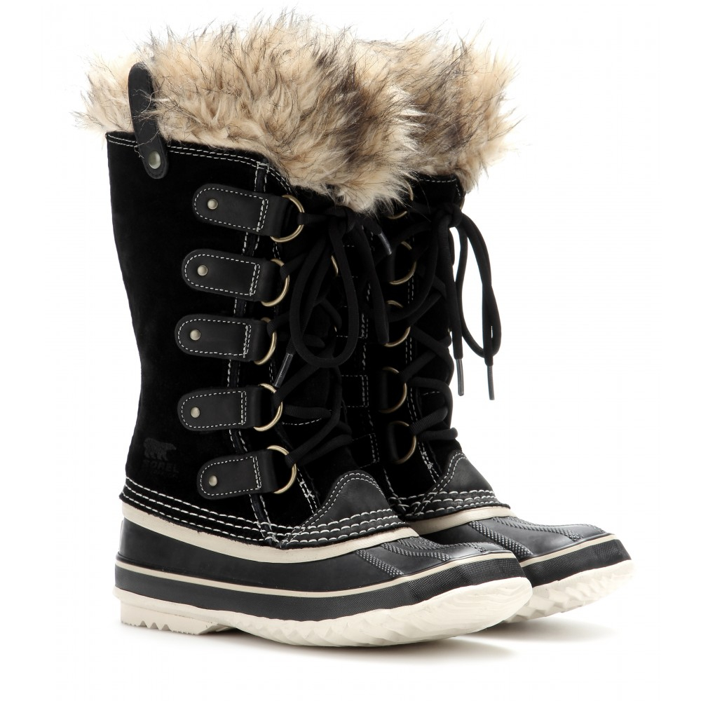 Lyst Sorel Joan Of Arctic Suede And Rubber Boots In Black
