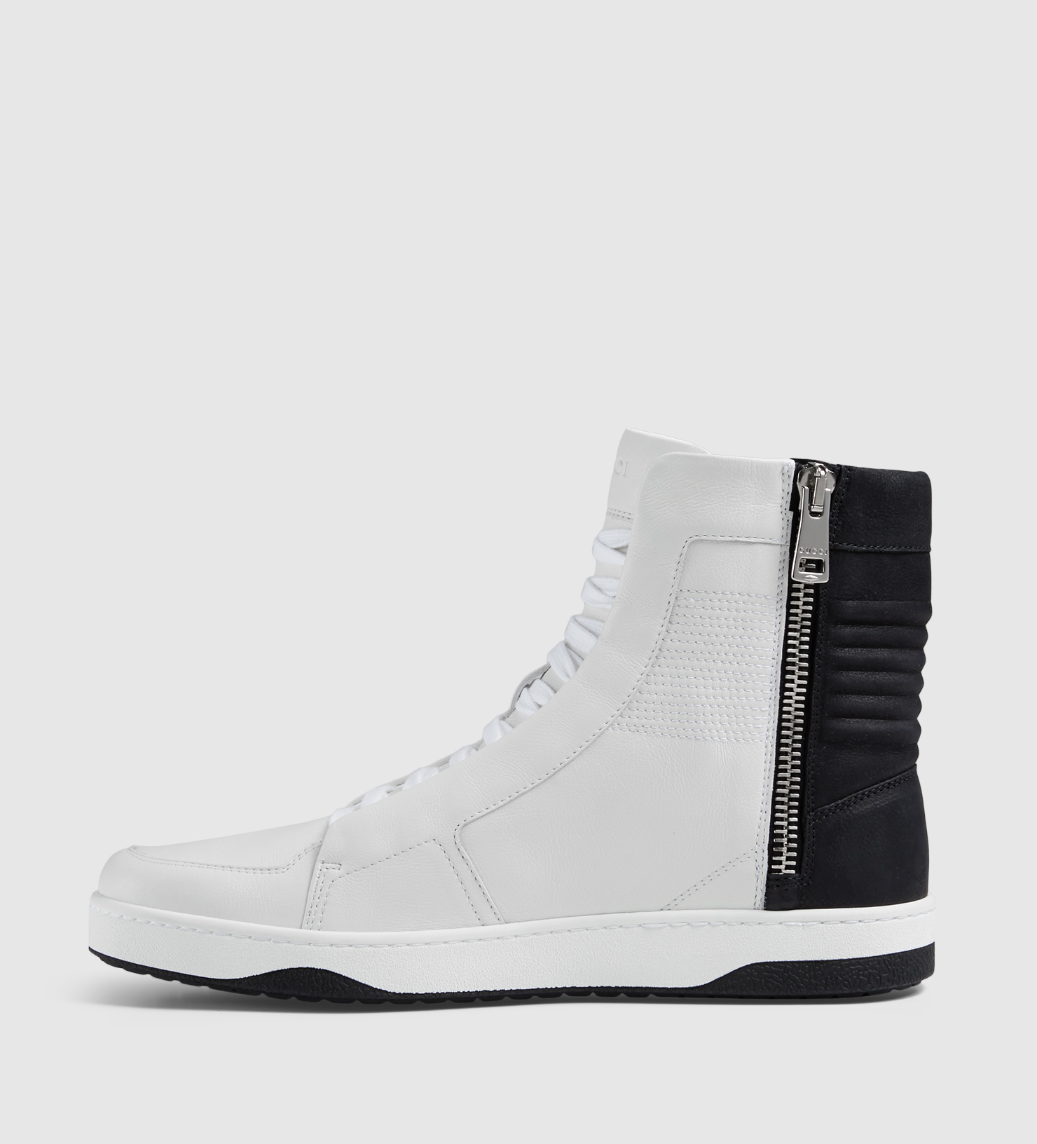 gucci leather high top sneaker with zippers in black for men lyst. Black Bedroom Furniture Sets. Home Design Ideas