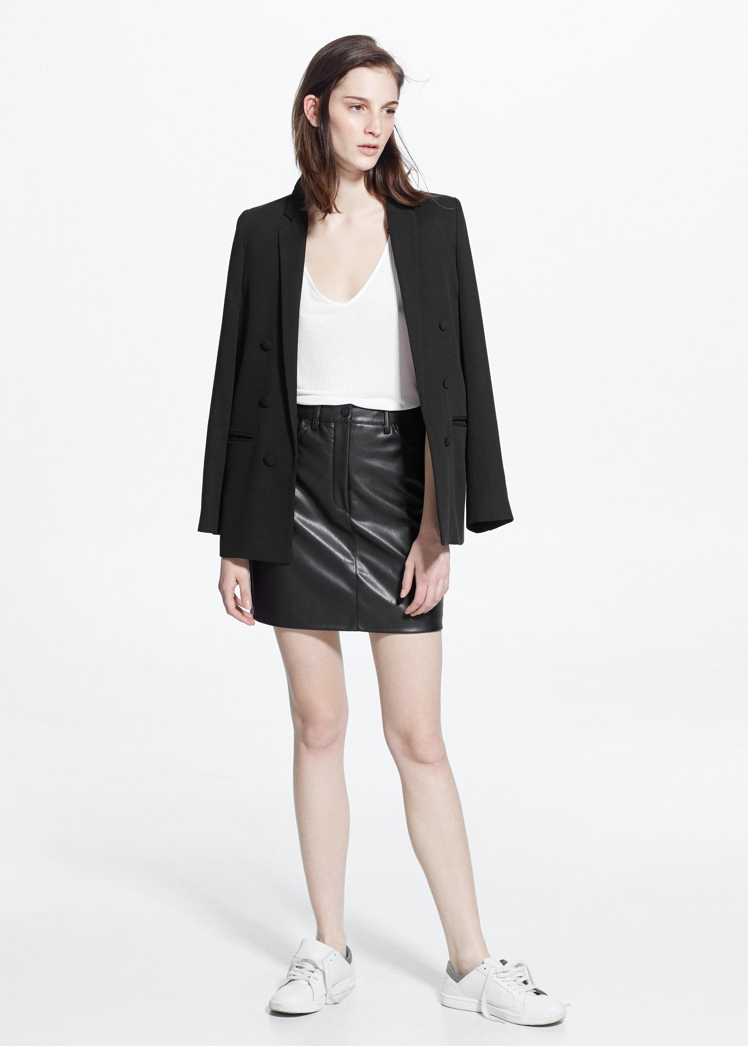 60ce5ba2b7d Mango Faux-Leather Skirt in Black - Lyst