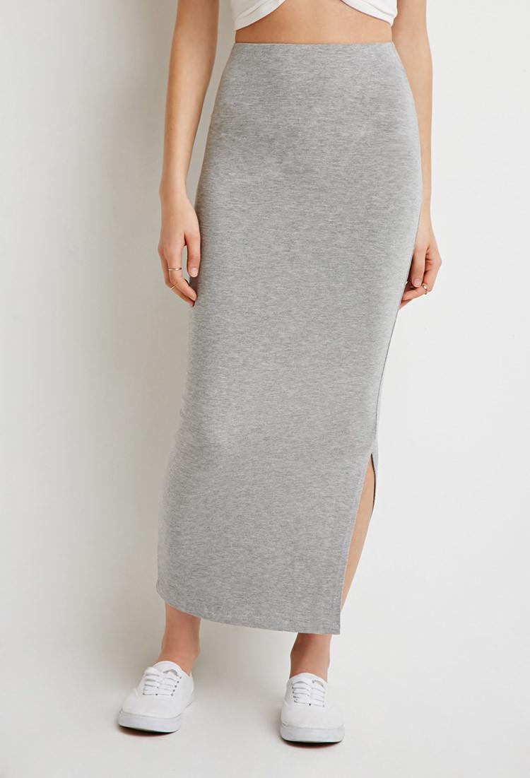 grey split maxi skirt dress ala