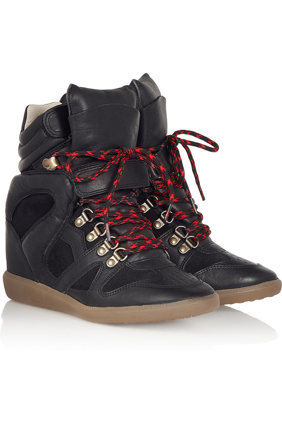 isabel marant toile buck leather and suede wedge sneakers. Black Bedroom Furniture Sets. Home Design Ideas