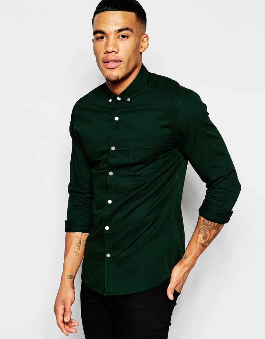 Asos Skinny Shirt In Green Twill In Black For Men | Lyst