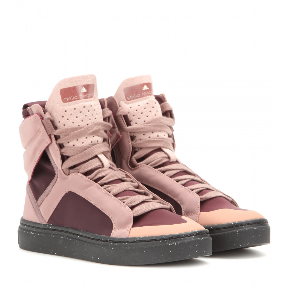 adidas by stella mccartney asimina high top sneakers in pink lyst. Black Bedroom Furniture Sets. Home Design Ideas
