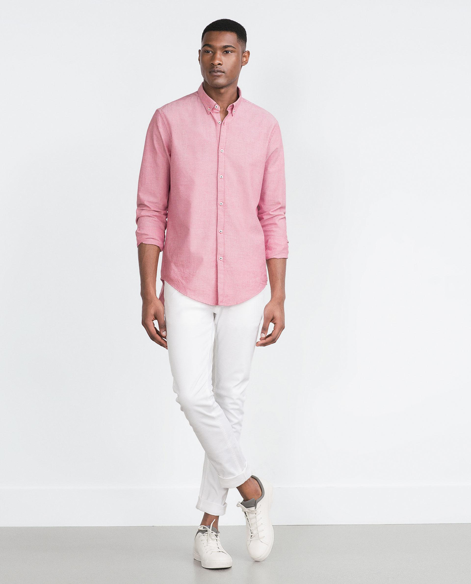 Zara plain oxford shirt in red for men lyst for Zara mens shirts sale