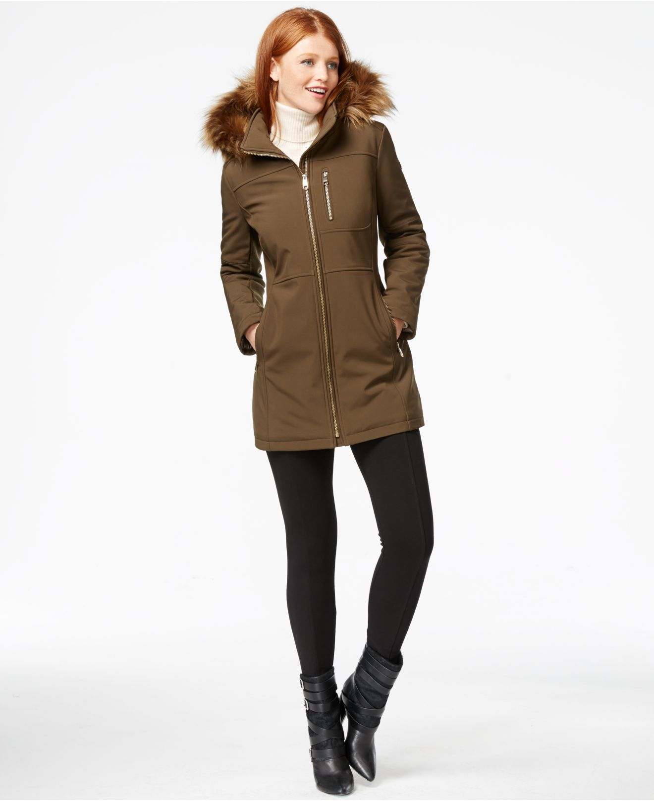 104fb954707d Lyst - Calvin Klein Faux-fur-trim Hooded Softshell Jacket in Natural