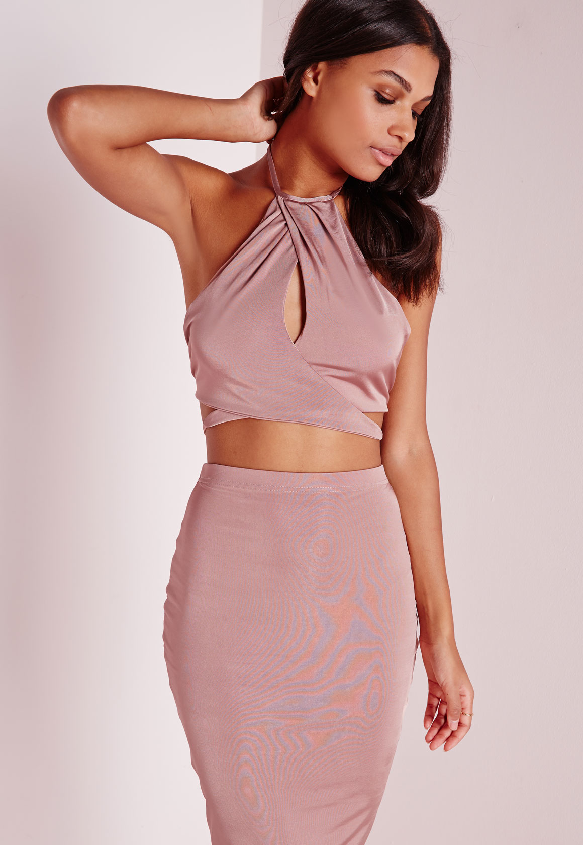 bf994c5c3e7476 Lyst - Missguided Slinky High Neck Keyhole Wrap Front Crop Top Pink in Pink