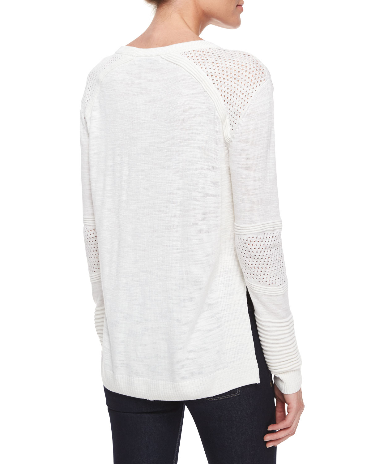 Milly Textured Mesh Pullover Sweater in White | Lyst