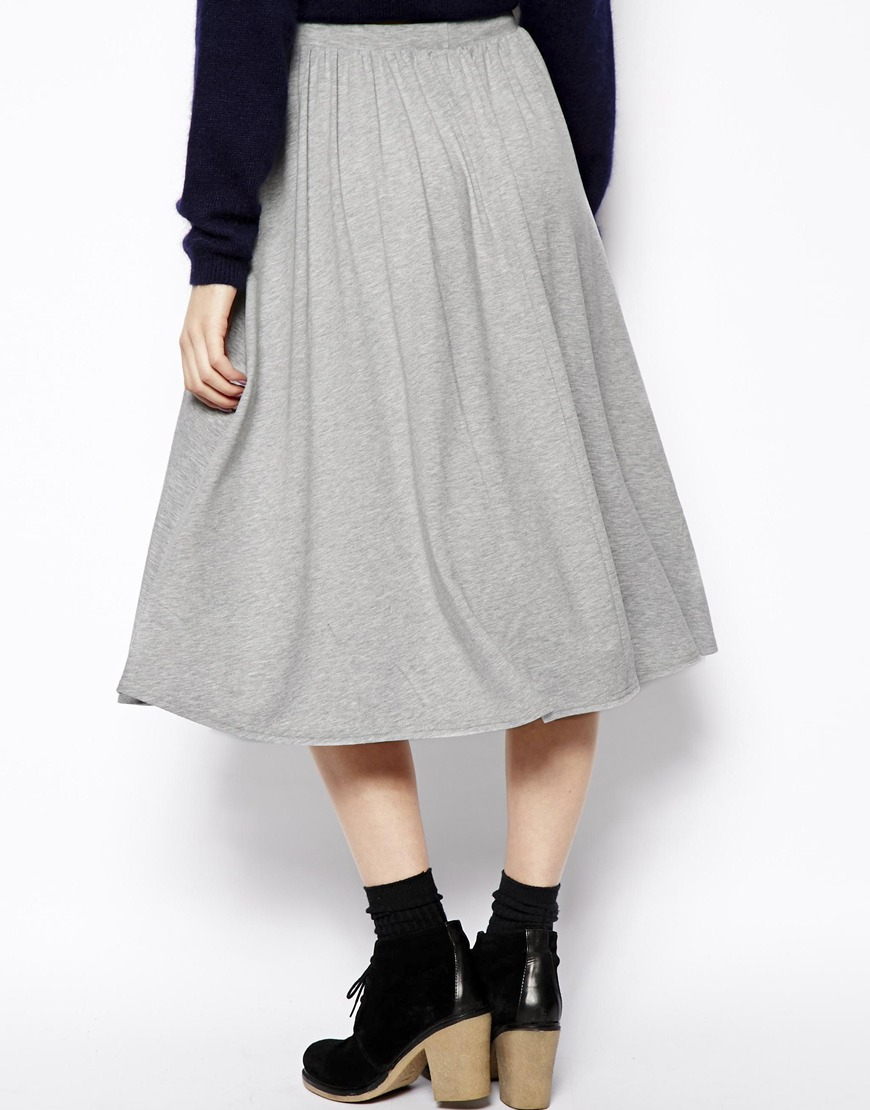 Asos Full Midi Skirt in Gray | Lyst