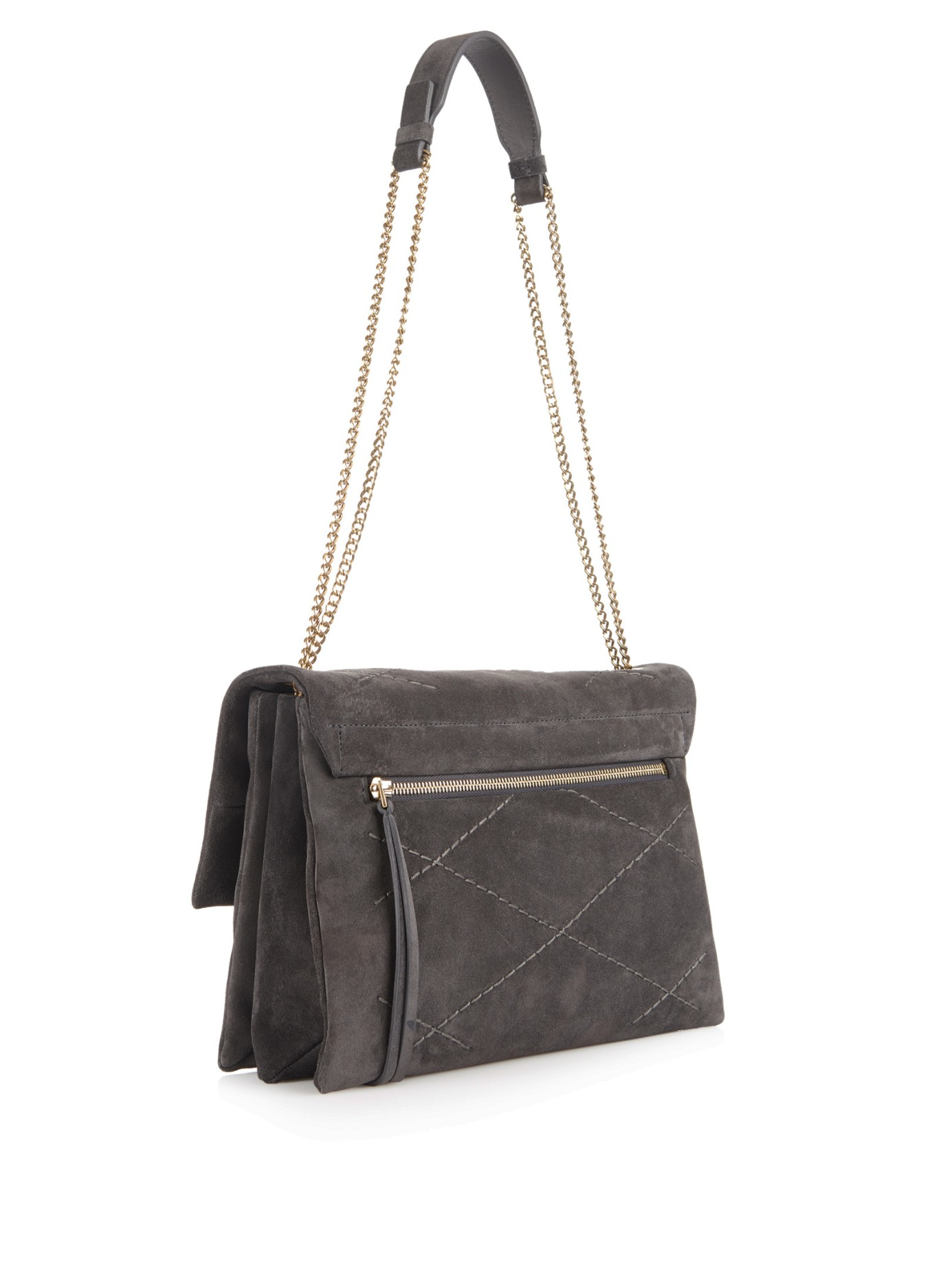 fdcd007883 Lanvin Sugar Suede Shoulder Bag in Gray - Lyst