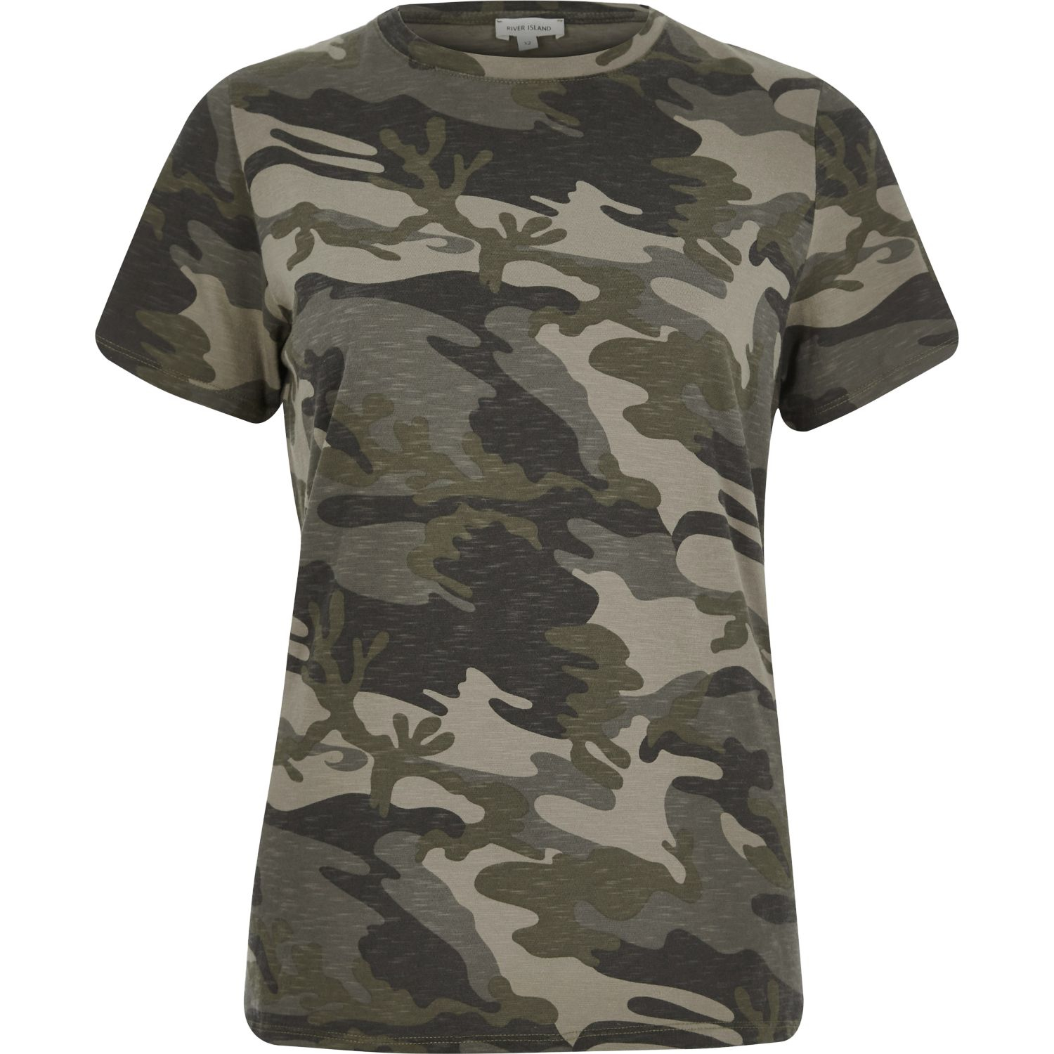 River Island Khaki Camo Fitted T Shirt Lyst