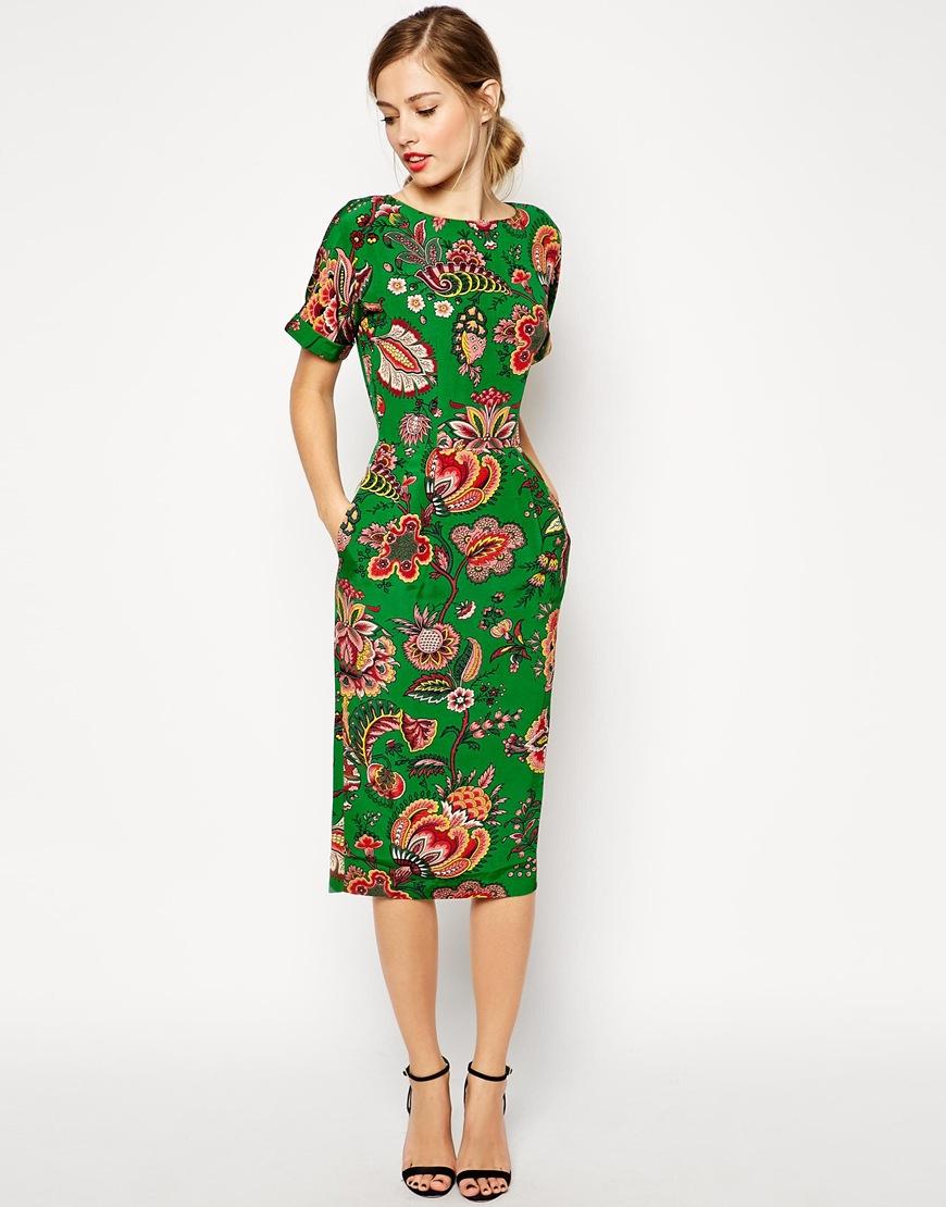 Lyst - Asos Midi Wiggle Dress In Paisley Print in Green