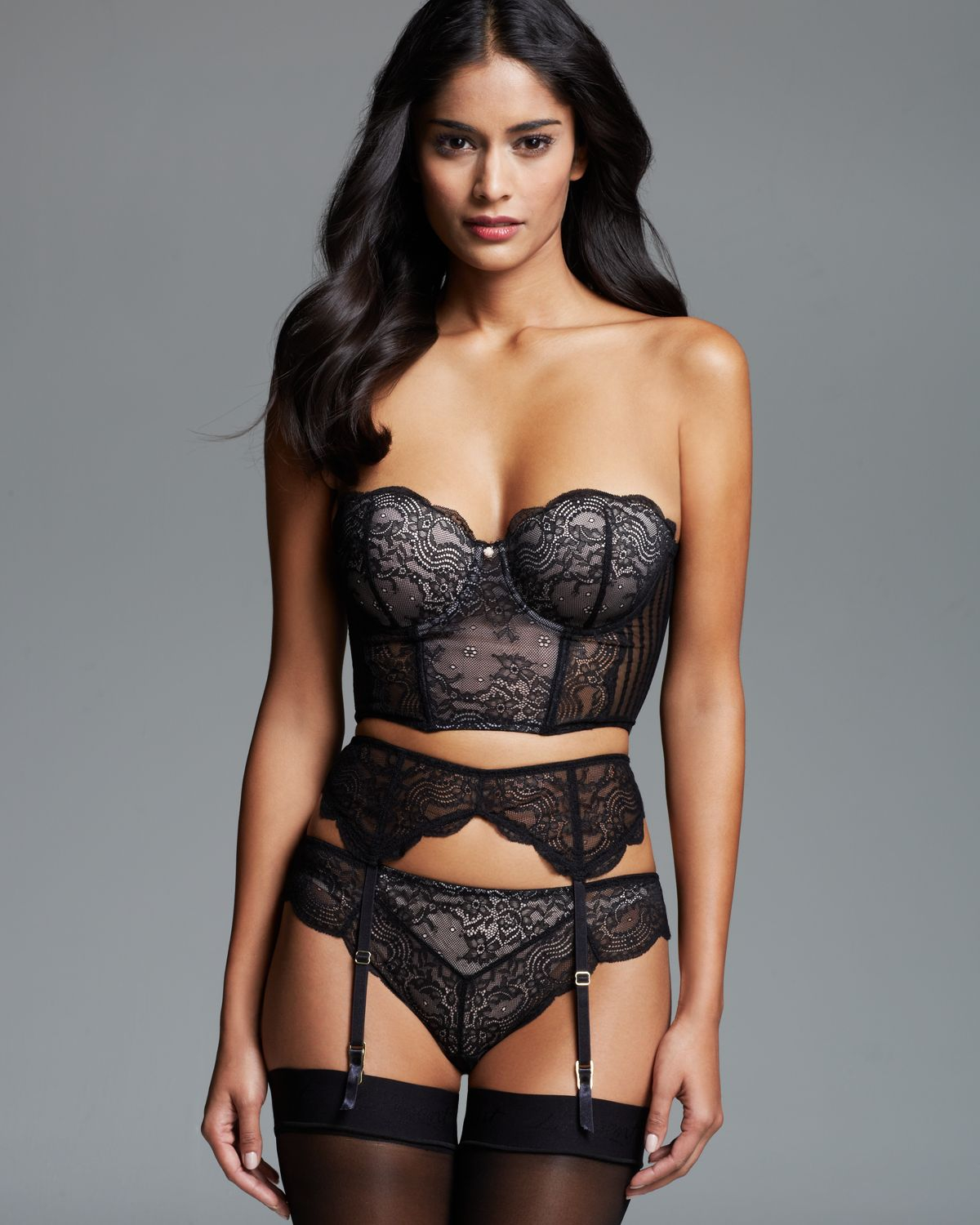 Blush Lingerie Strapless Cropped Corset In Black  Lyst-2656