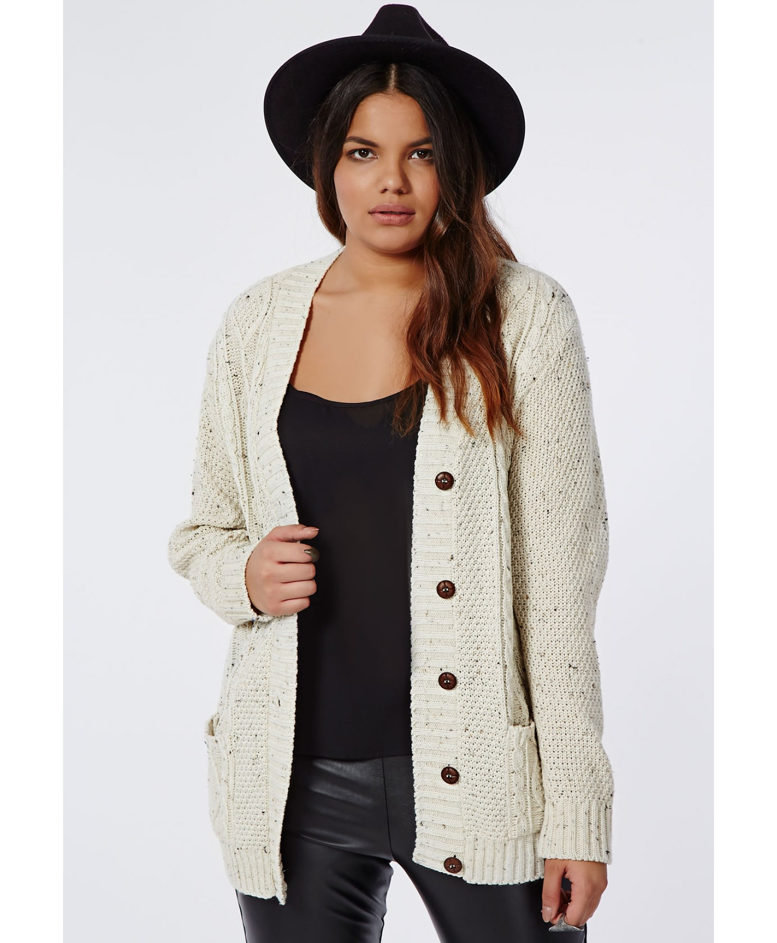 92d64820d7e Missguided Beige Plus Size Longline Chunky Knit Cardigan