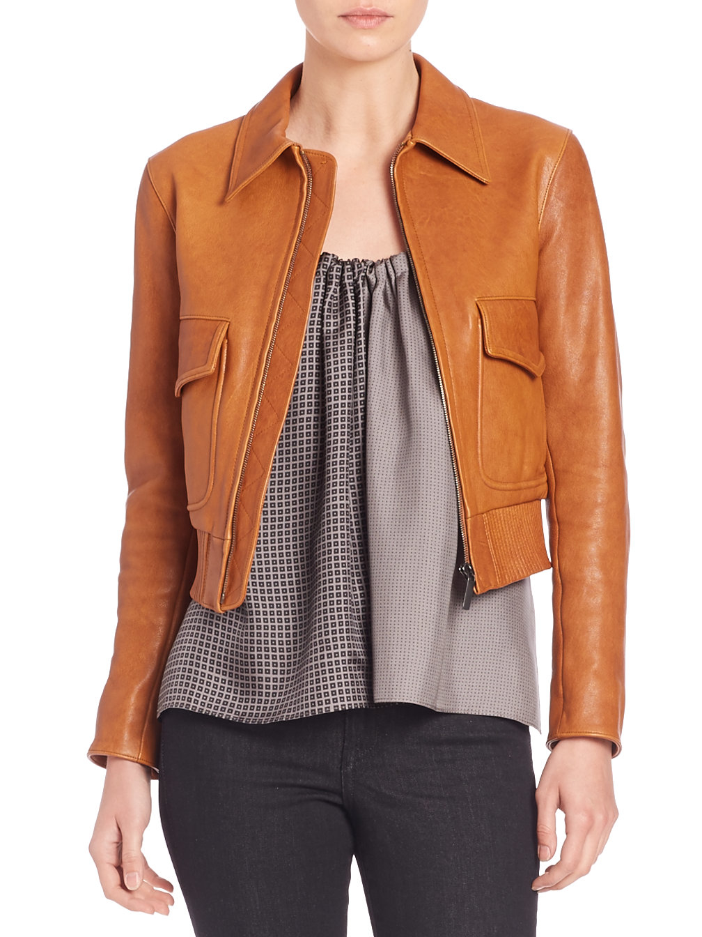 Helmut lang Cropped Leather Jacket in Brown | Lyst