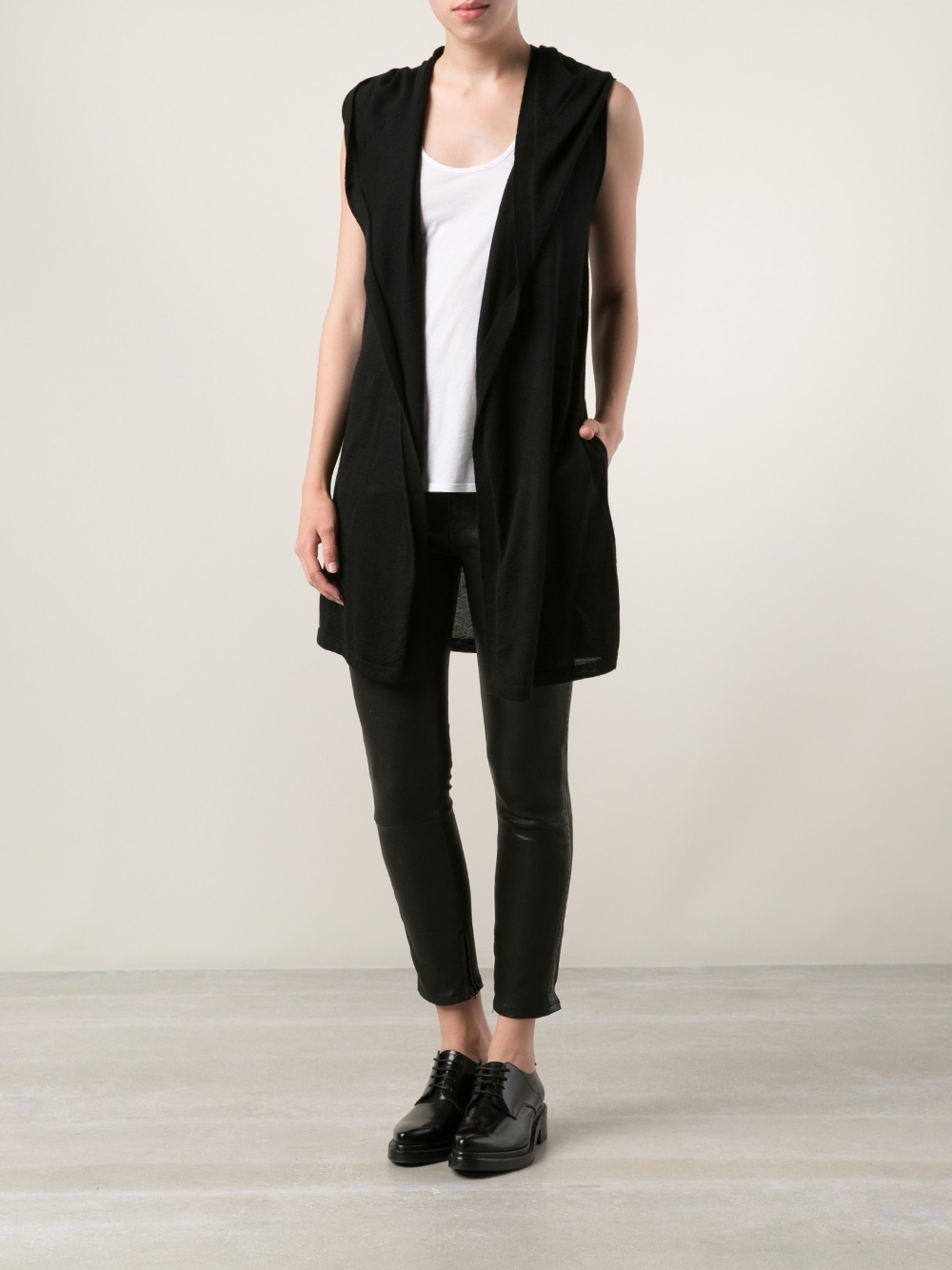 Rick owens Sleeveless Cardigan in Black | Lyst