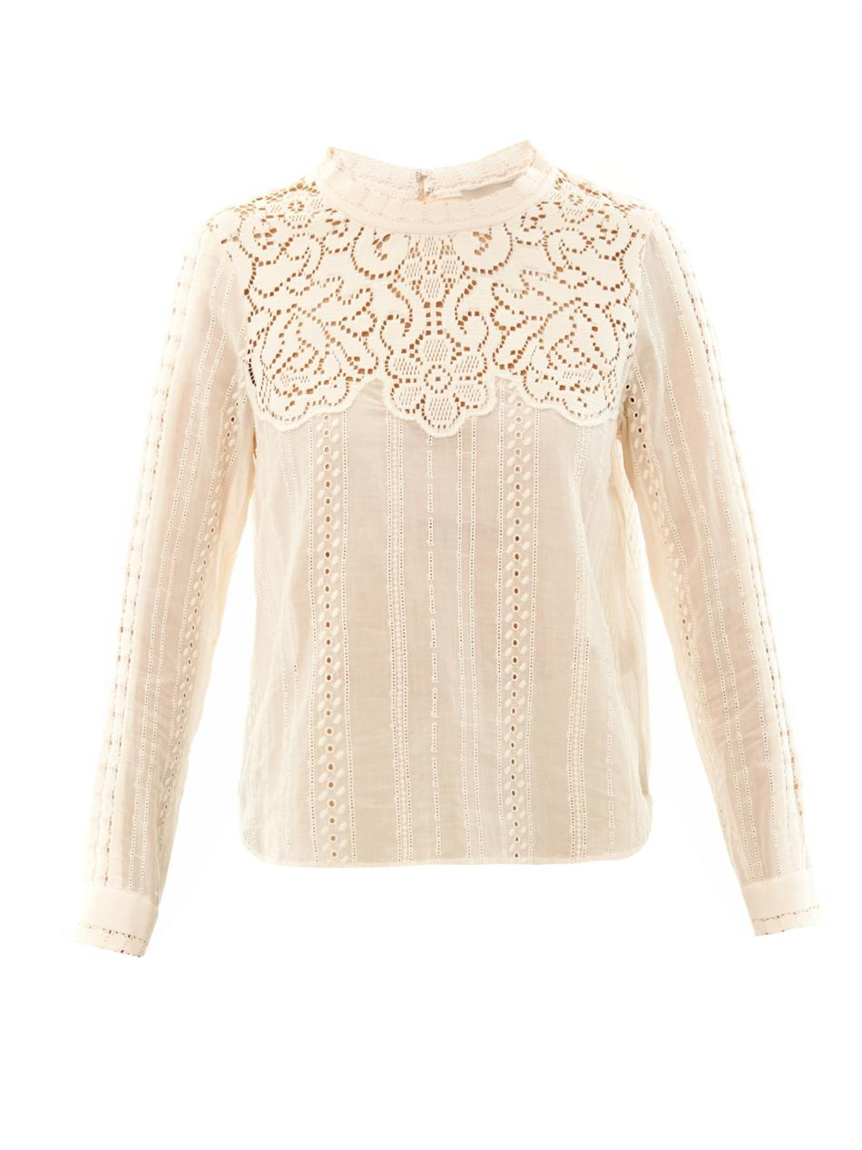 Sea Lace Long Sleeved Cotton Top in Natural | Lyst
