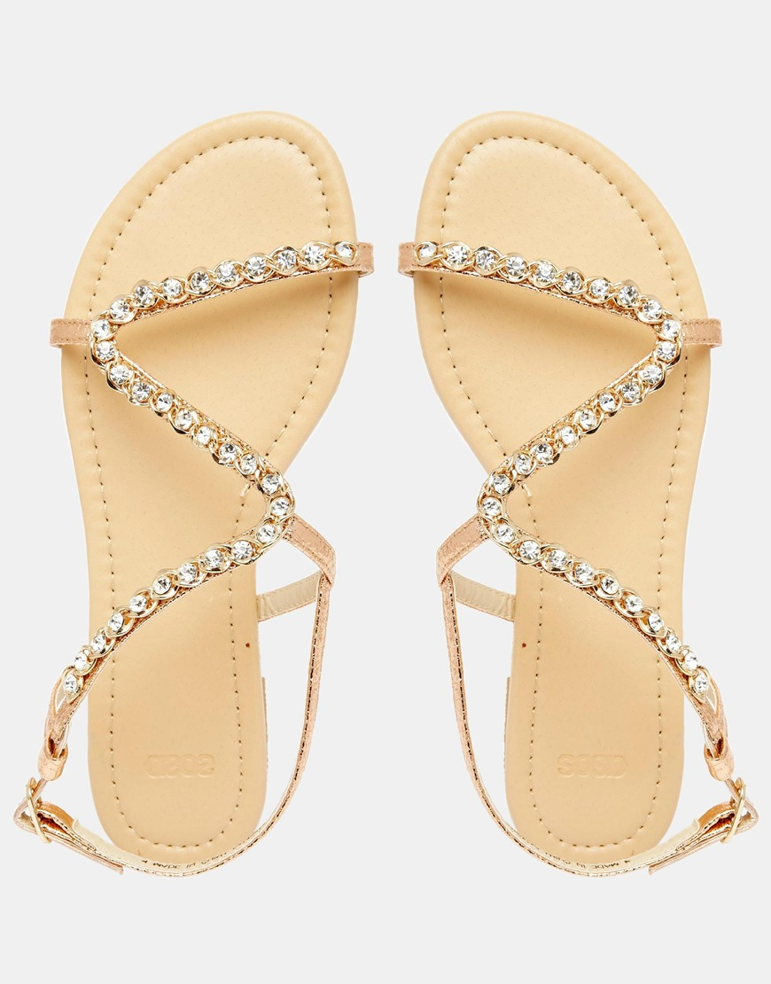 e1d285f8fe5 Lyst - ASOS Flirty Embellished Flat Sandals in Metallic